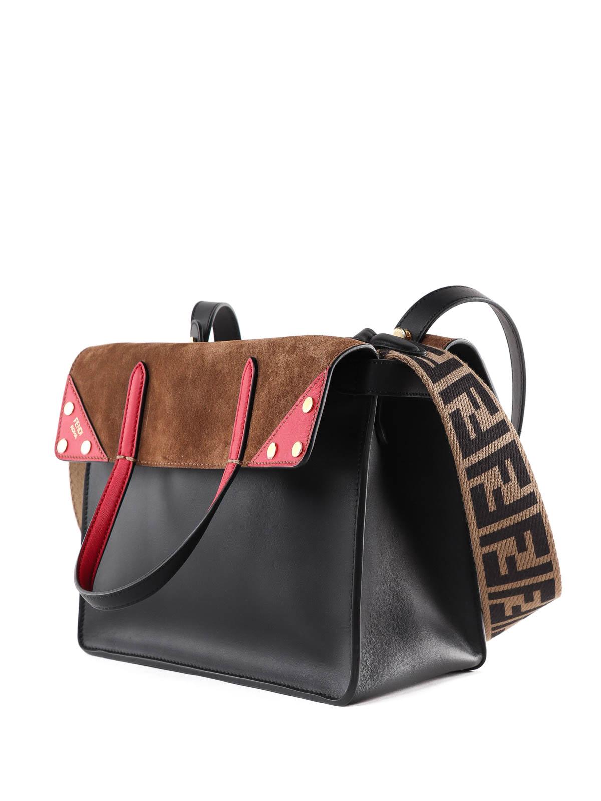f394d3a753fc FENDI  shoulder bags online - Flip Regular leather and suede bag