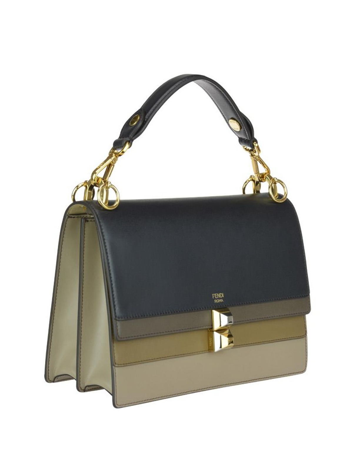 a28842647f4f FENDI  shoulder bags online - Kan I leather bag with beige and blue flap