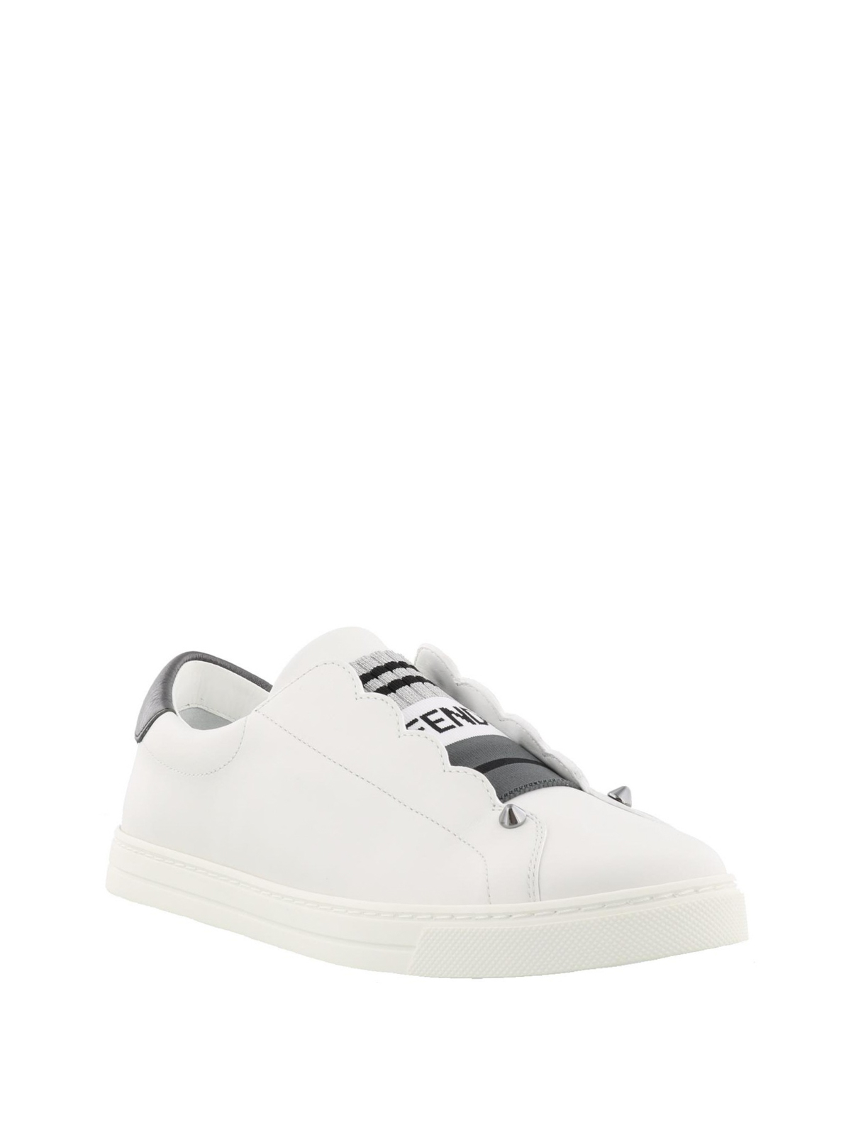 Fendi - Leather slip-on sneakers with