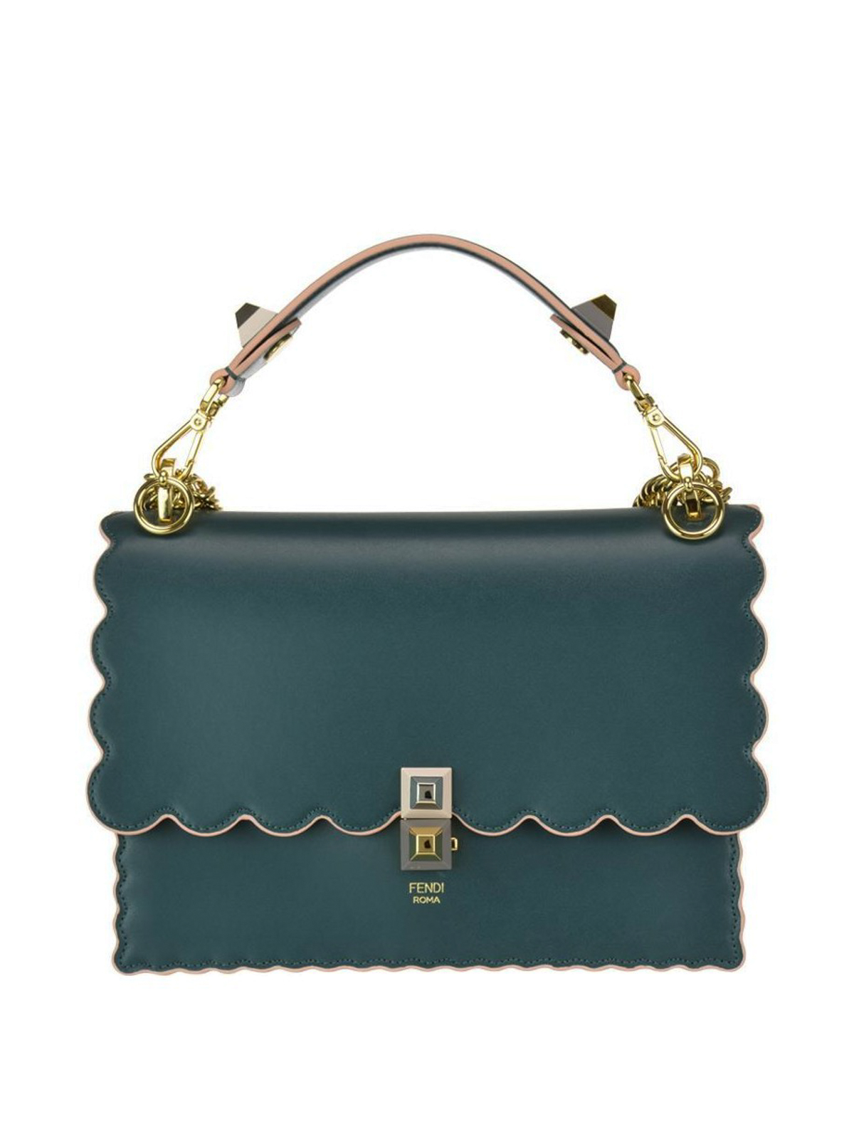 Fendi - Kan I green leather scalloped bag - shoulder bags ... d08d2abaa91a8
