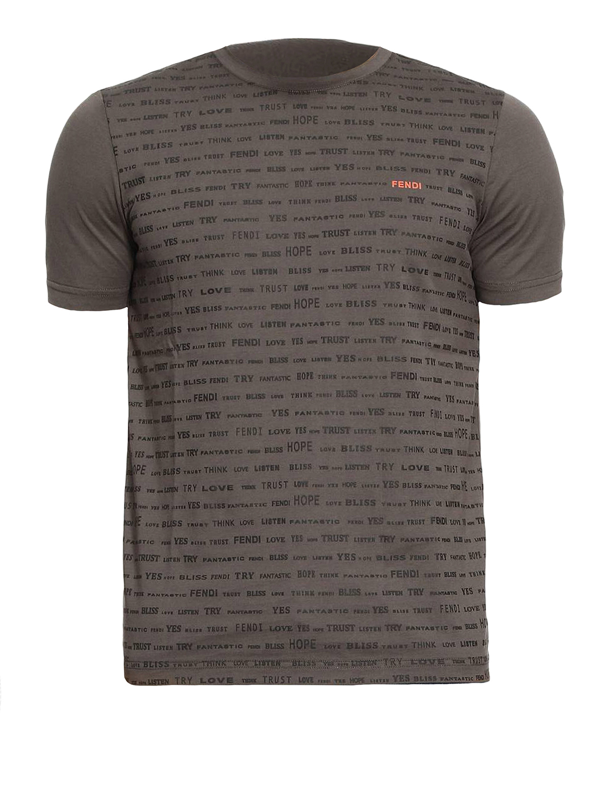 All over words print green t shirt by fendi t shirts for Sustainable t shirt printing