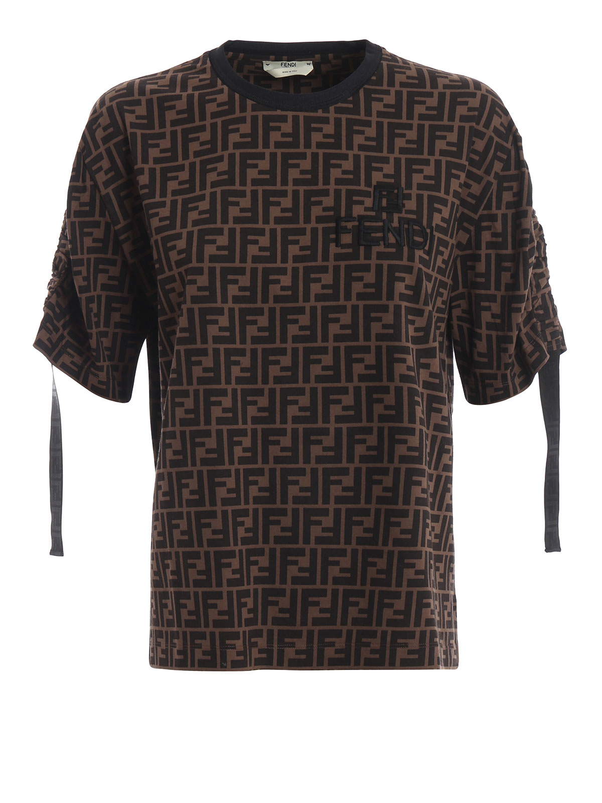 Fendi - FF pattern over T-shirt with logo embroidery - t ...