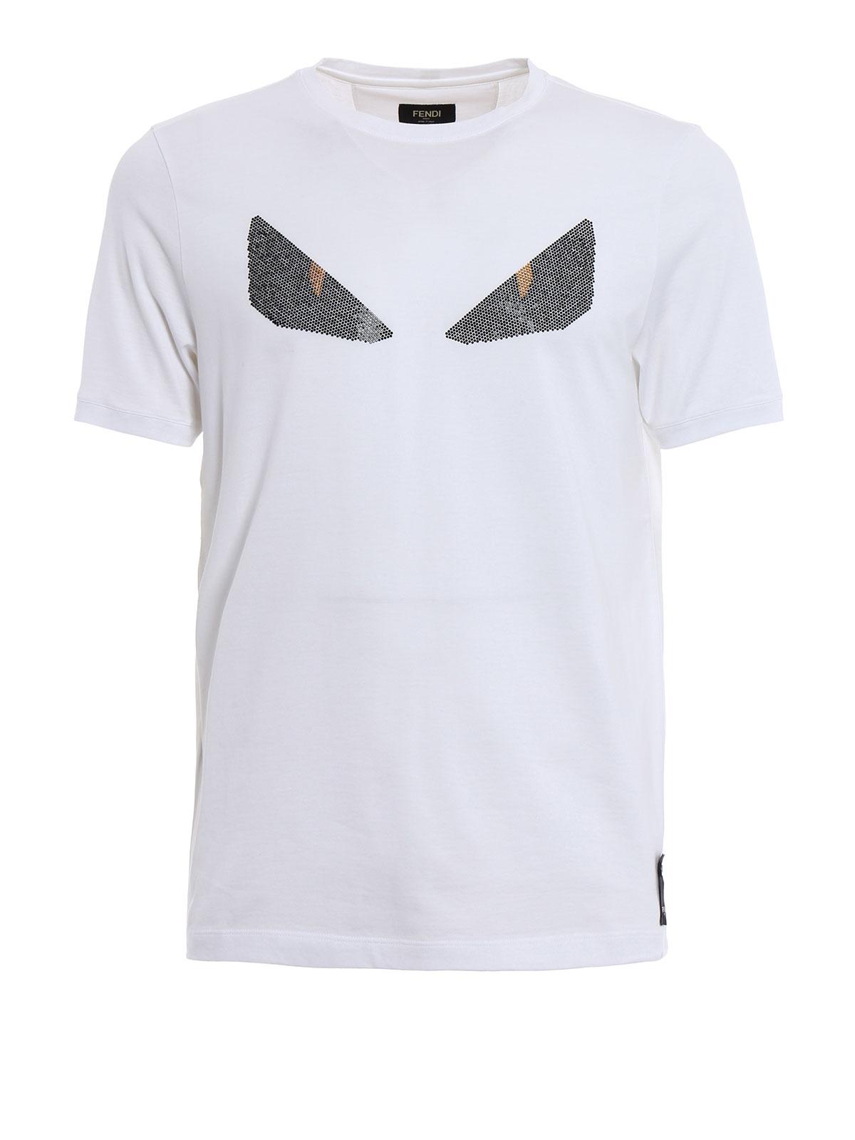 1f0f0155 Fendi - Monster eye rhinestone T-shirt - t-shirts - FY0682 1JJ QA0