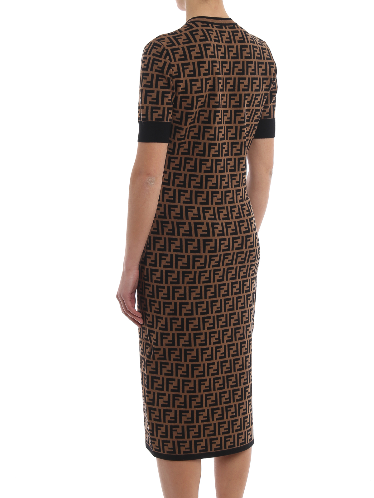 fendi - ff motif knitted crewneck dress - knee length