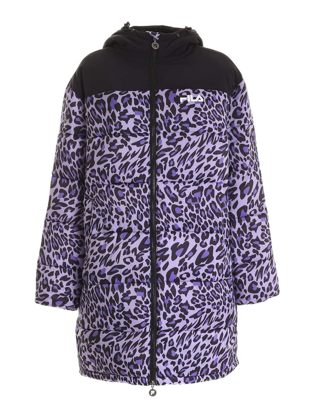 Fila ANIMALIER PRINT PUFFER JACKET IN PURPLE