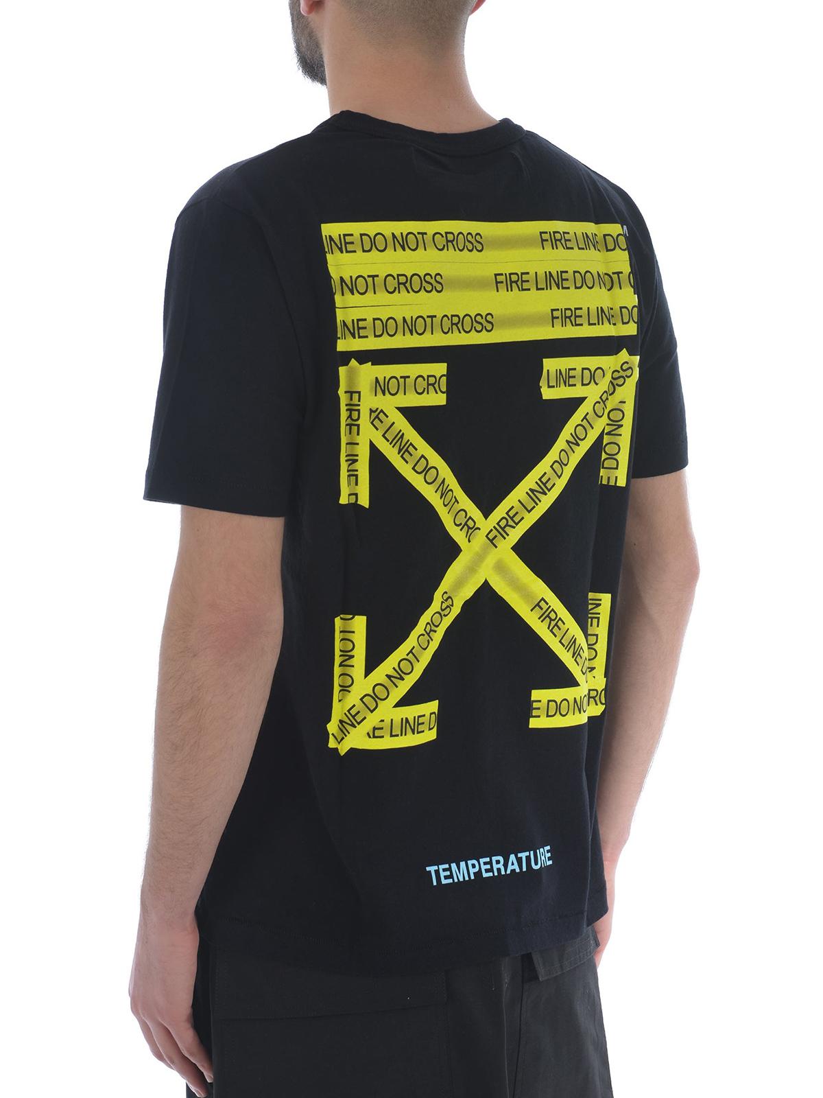 ace5364a26e3 Off-White - Firetape black slim fit T-shirt - t-shirts ...