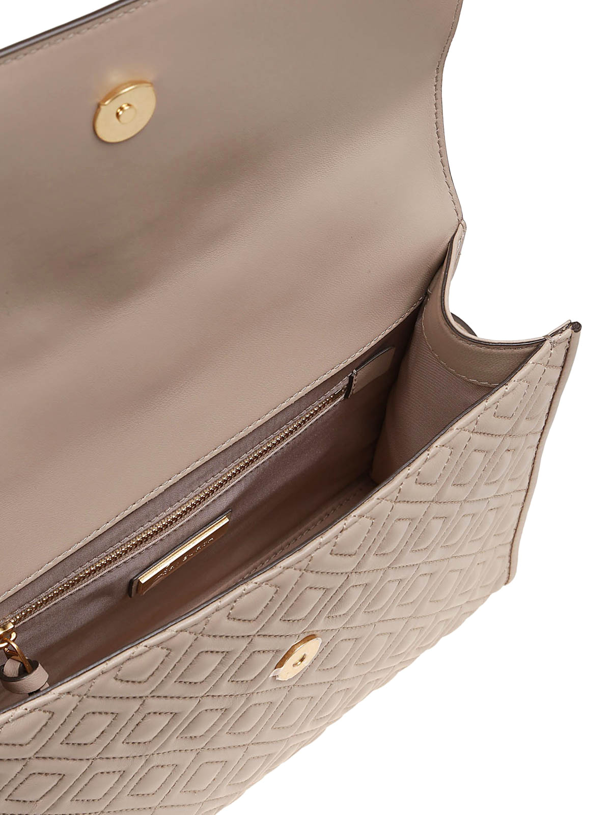 a76f41377ff Tory Burch - Fleming light taupe quilted leather bag - shoulder bags ...