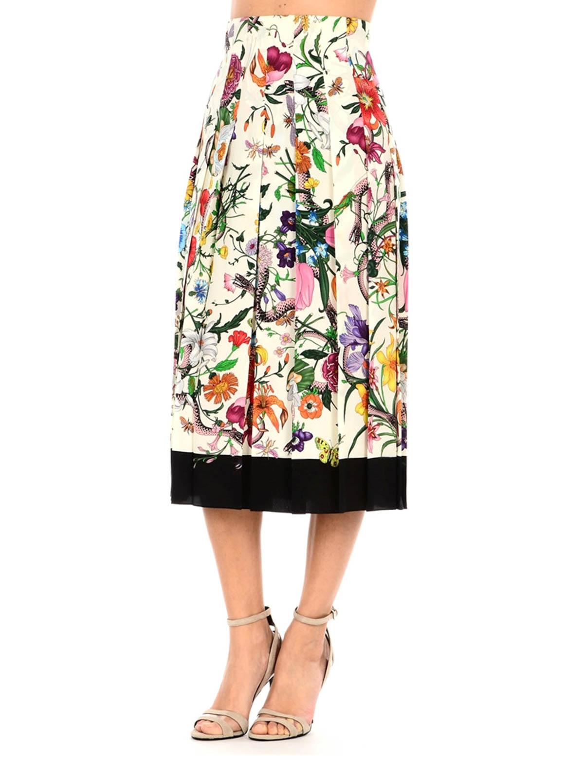 261d98a94e Gucci - Flora Snake silk pleated skirt - Knee length skirts & Midi ...