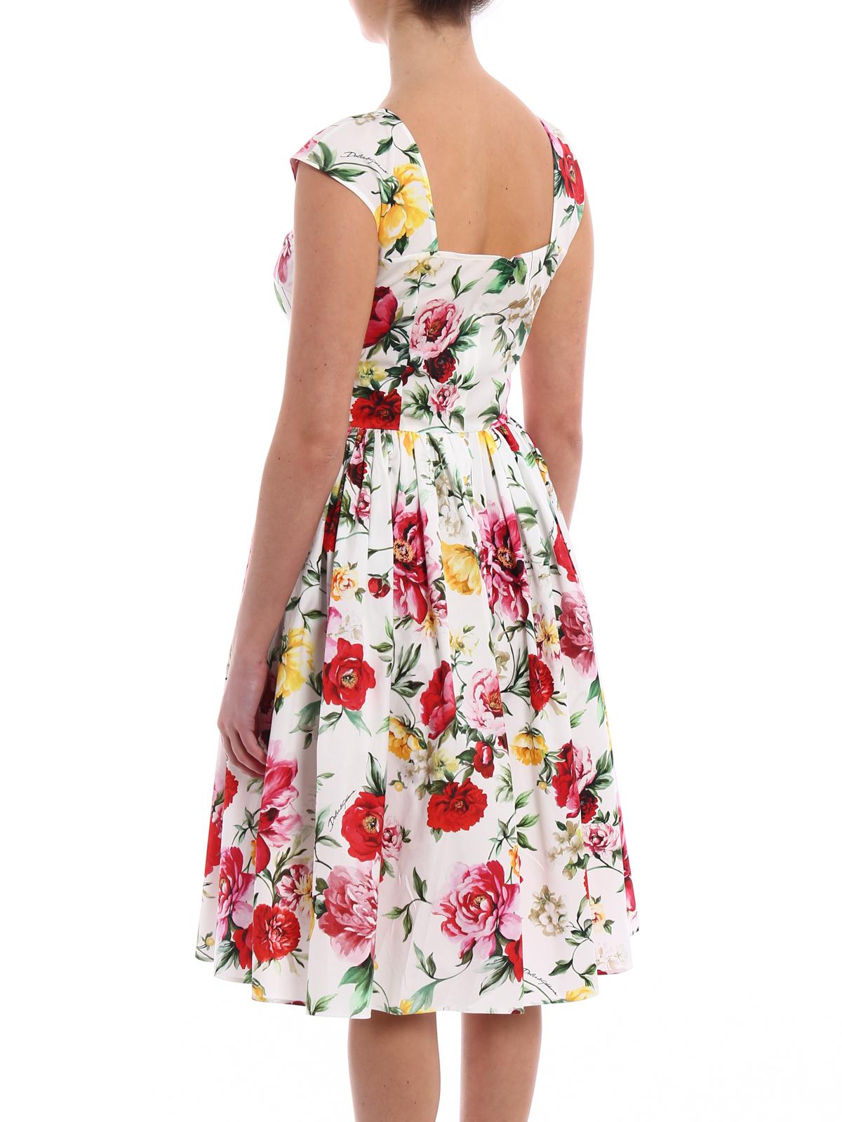 Dolce   Gabbana - Abito in cotone con stampa fiori - abiti da ... a564f0fadf9