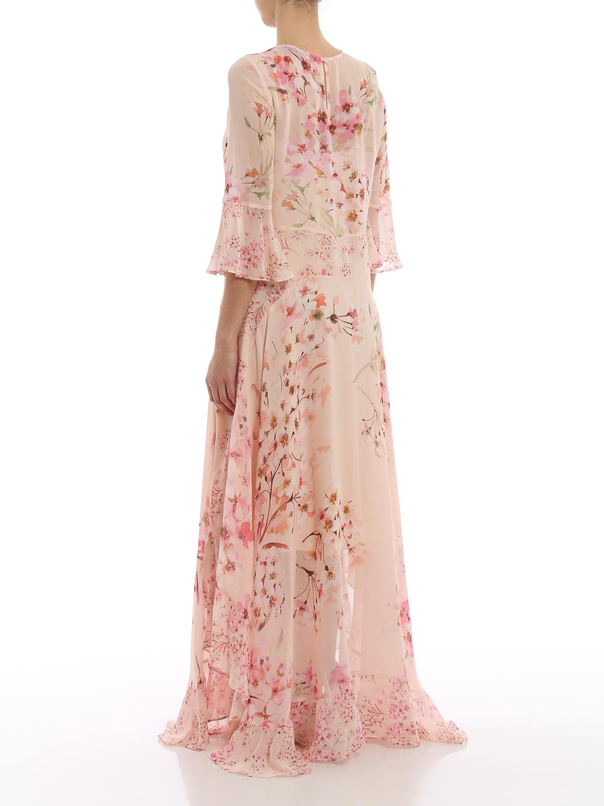 hot sales c6c52 a3a0a Twinset - Abito lungo in georgette a fiori - abiti lunghi ...