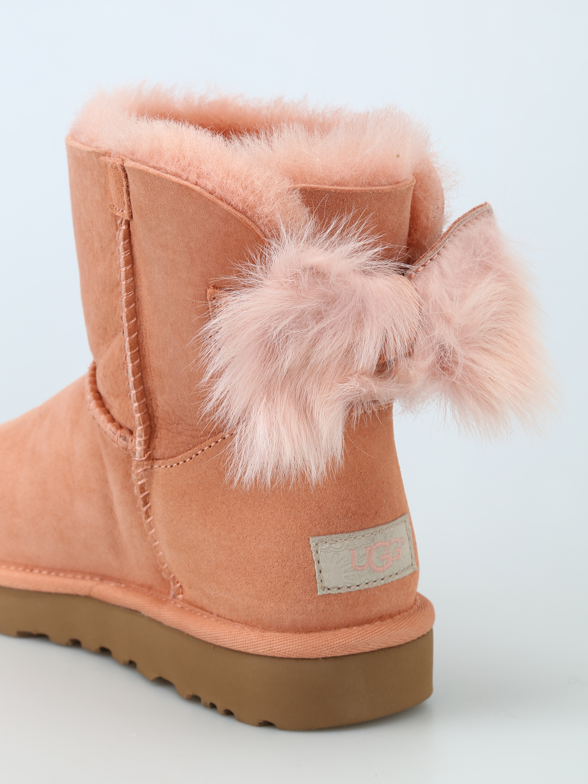 Fluff Bow Mini pink ankle boots shop online: UGG
