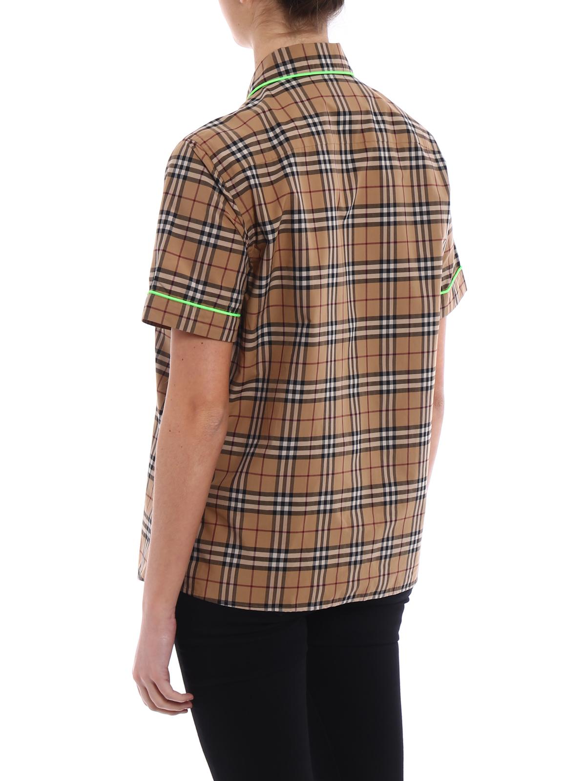 fa9d30fb1a Burberry - Camicia Check con profili fluo - camicie - 4066171 ...