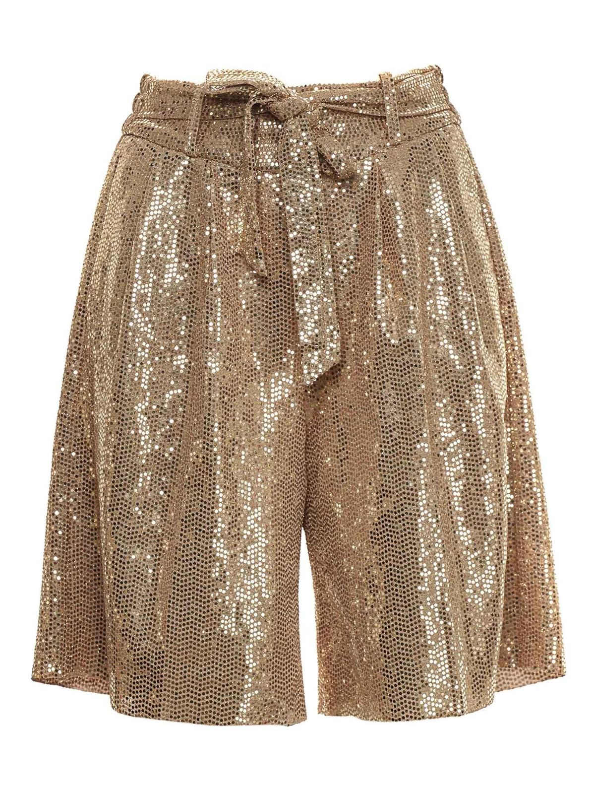 Forte Forte BOW SEQUINED BERMUDA IN GOLD COLOR