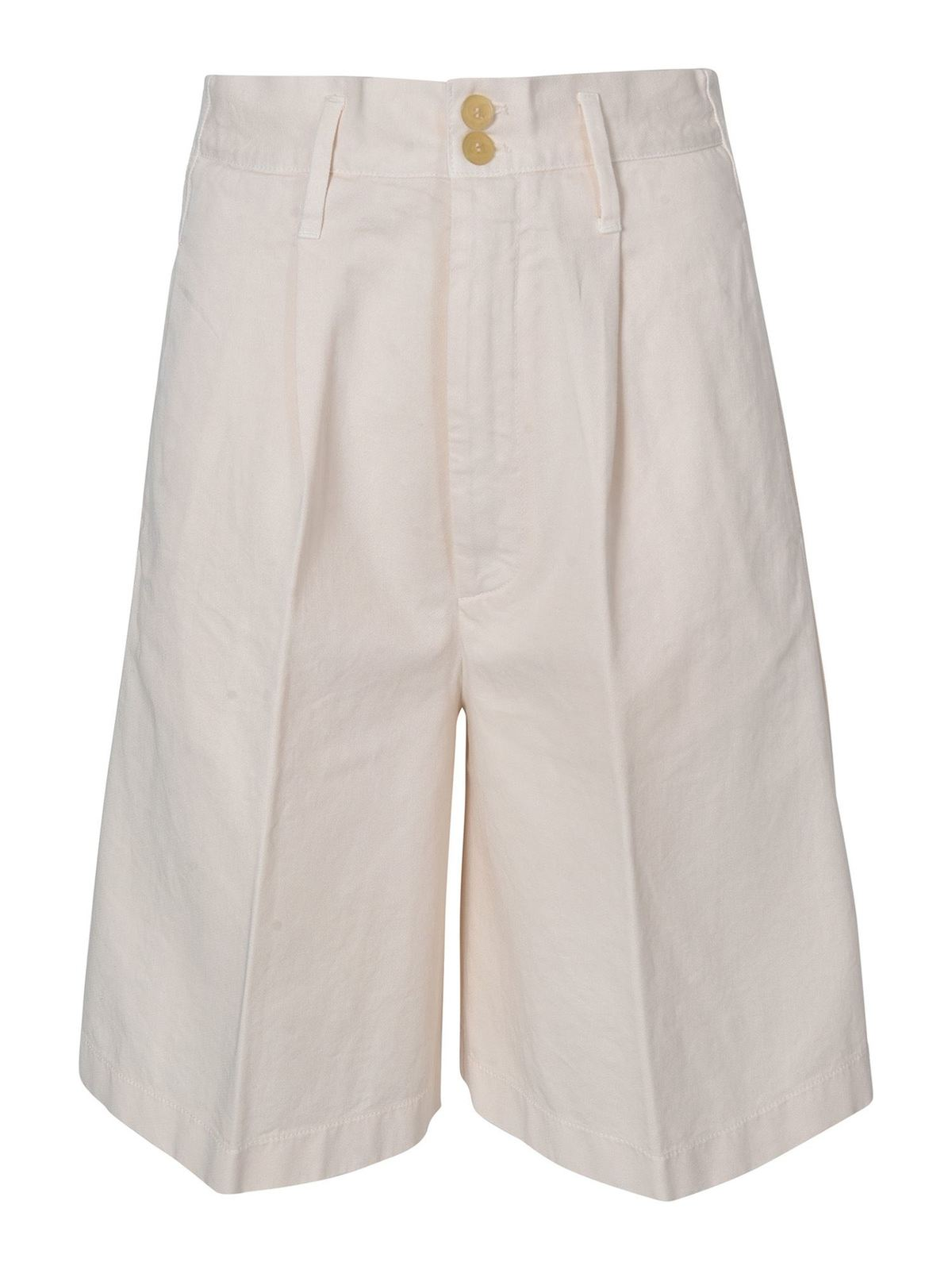 Forte Forte Cottons HIGH-WAISTED BERMUDA SHORTS IN IVORY COLOR