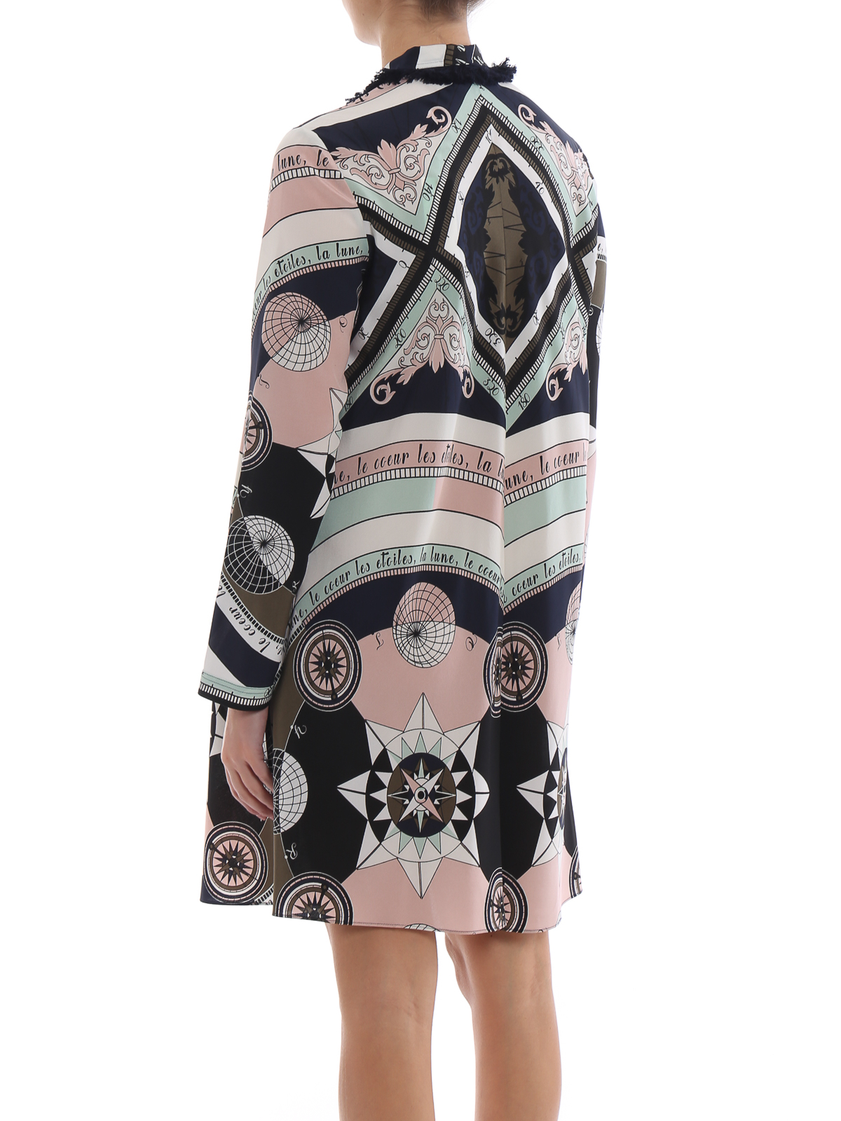 6b0006a920c77 Tory Burch - Fringe bow printed silk shirt dress - knee length ...