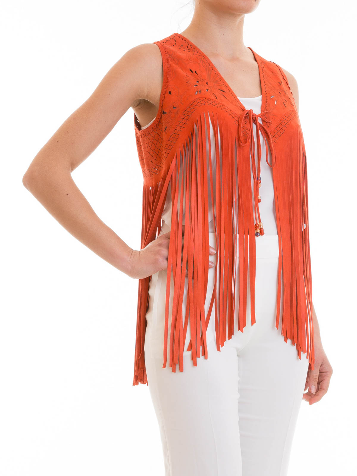 how to wear a fringed gilet