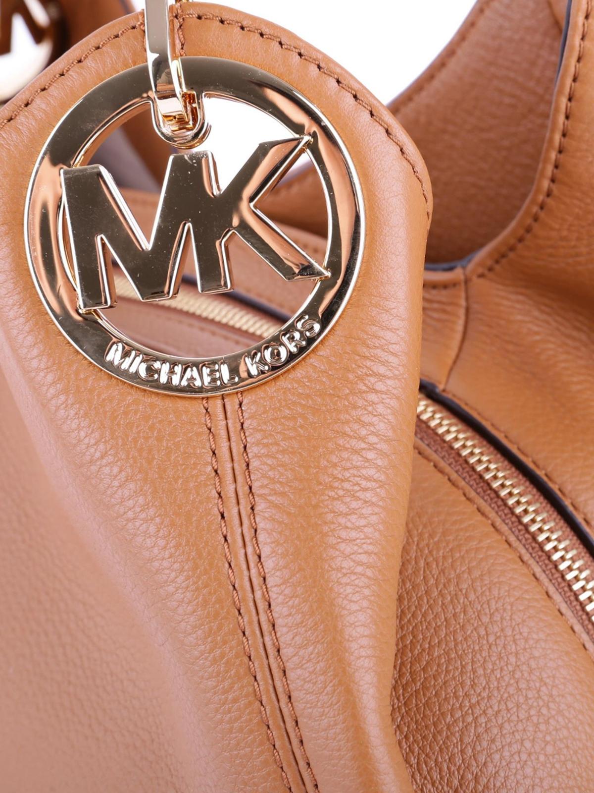 983a79d0b9e7 Michael Kors - Fulton large acorn leather shoulder bag - shoulder ...