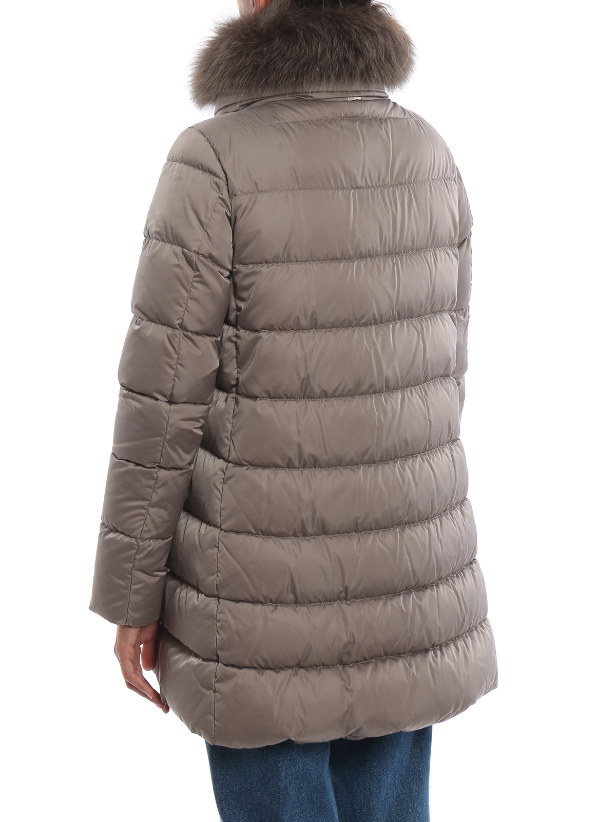 buy online 46599 b9d61 Herno - Piumino lungo beige con pelliccia e zip - cappotti ...