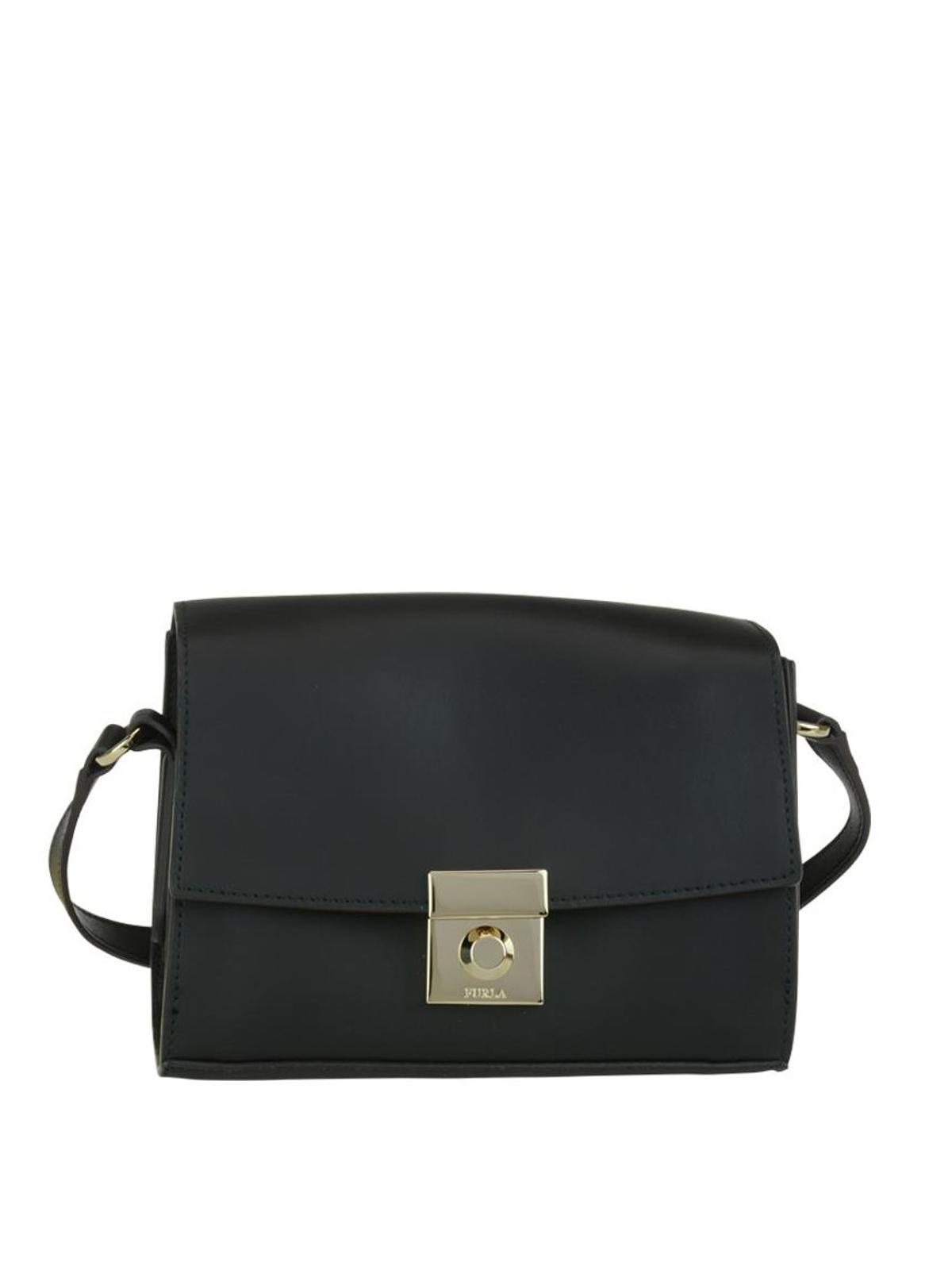 nuova collezione e6516 e72d8 Furla - Tracolla nera Milano S in pelle - borse a tracolla ...