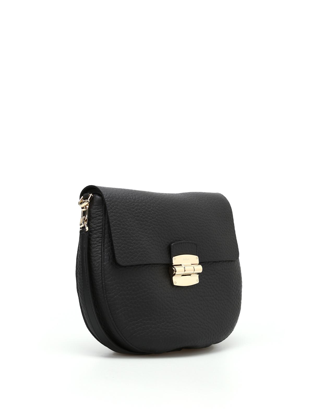 Furla - Club S leather shoulder bag - shoulder bags - 949066 ONYX 46cf8611c214d