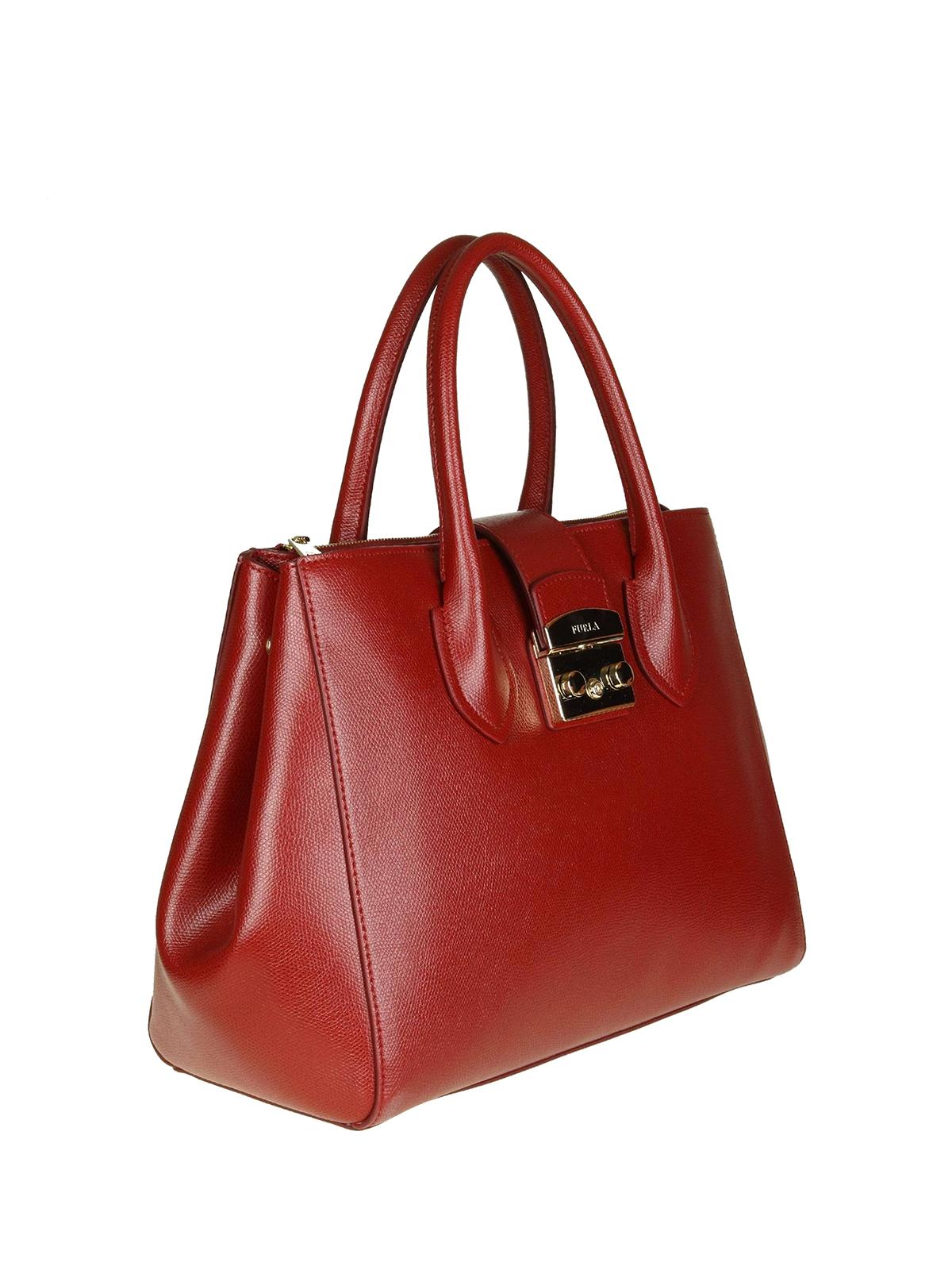 654923e55c61 Furla Metropolis Cherry Red Leather Medium Handbag Totes Bags
