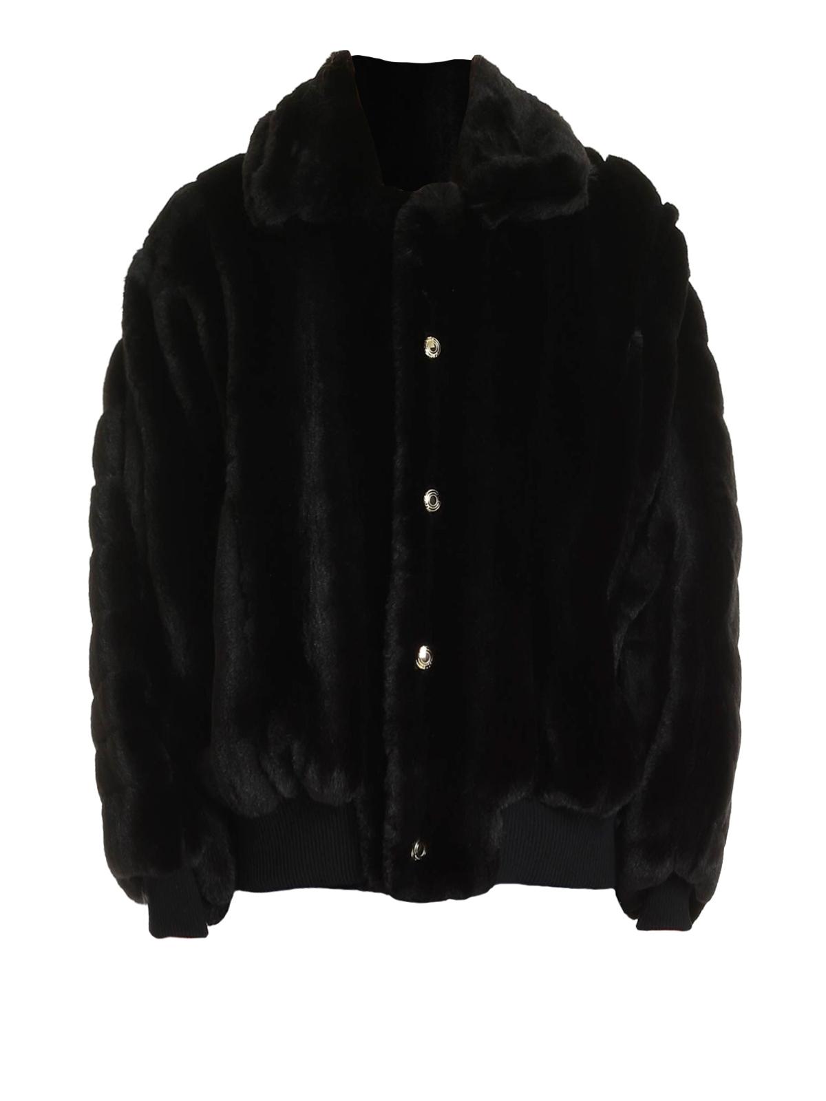 Gcds Back Logo Faux Fur Bomber Jacket In Black