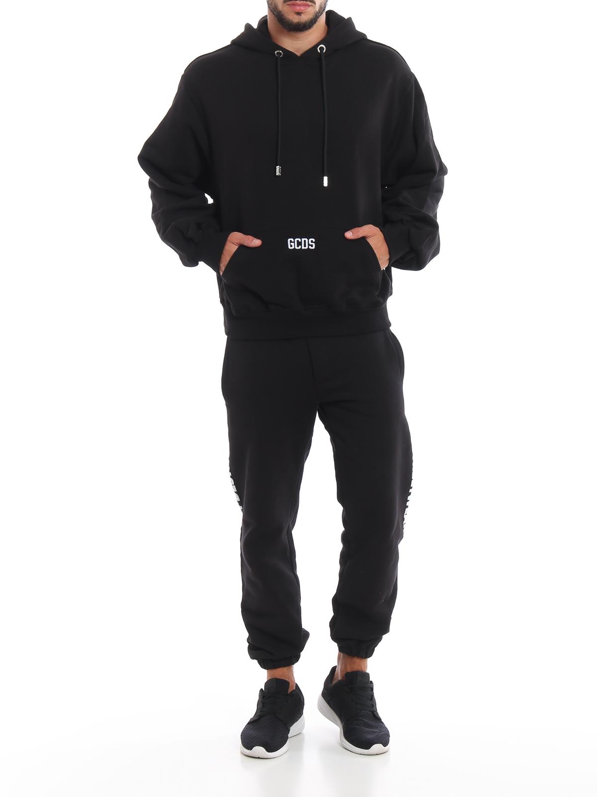 Gcds Felpa in cotone nera con cappuccio Felpe e maglie