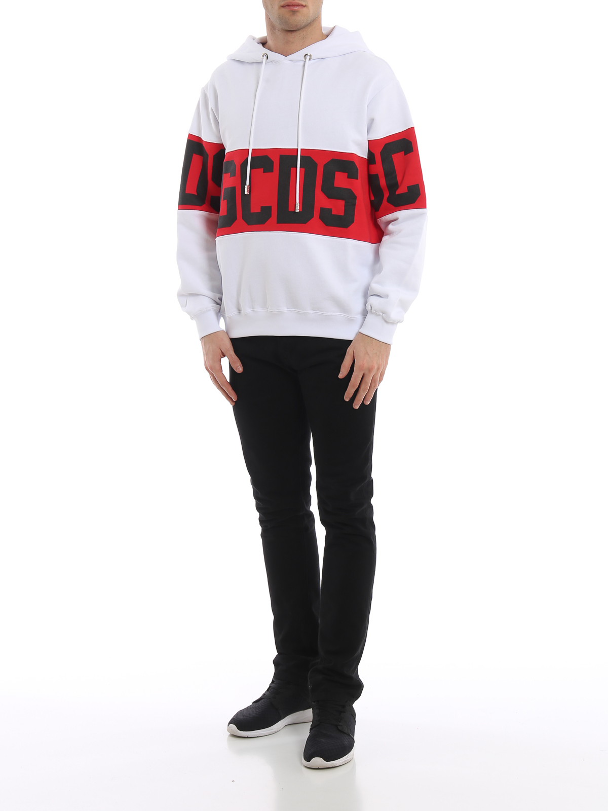 Gcds - Logo print white and red hoodie - Sweatshirts