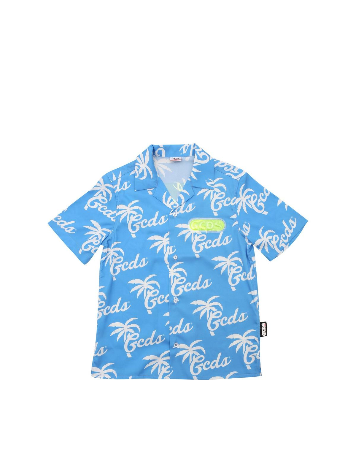 Gcds T-shirts HAWAIIAN SHIRT IN LIGHT BLUE AND WHITE
