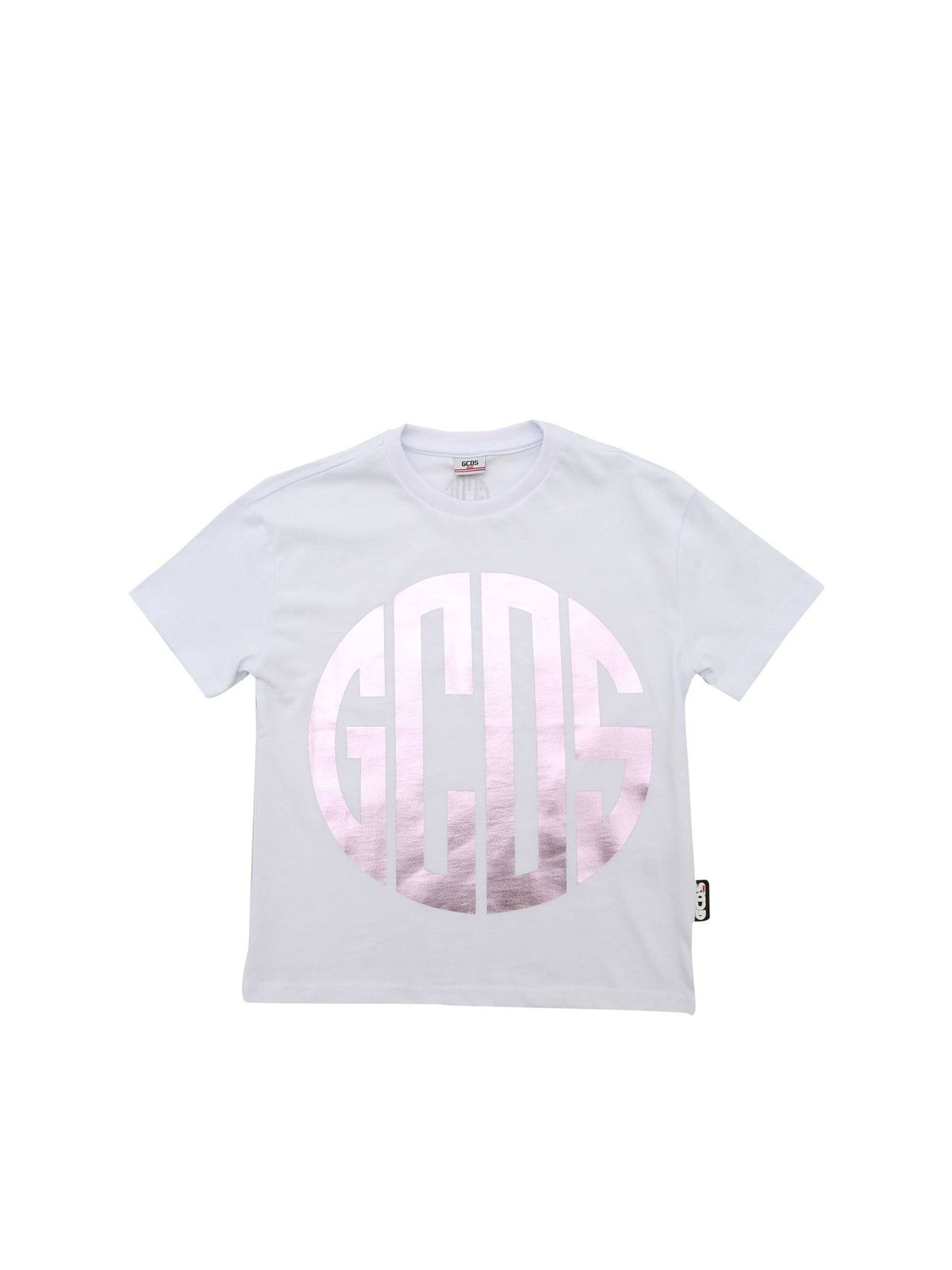 Gcds Cottons LAMINATED LOGO T-SHIRT IN WHITE
