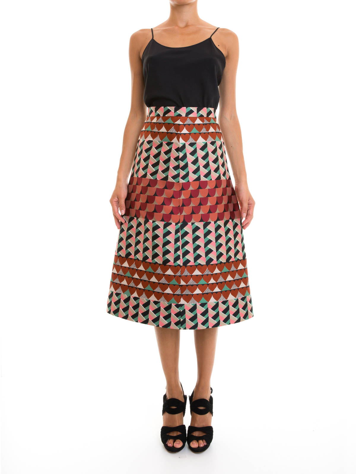 Geometric patterned A-line skirt by Valentino Red - Knee length ...