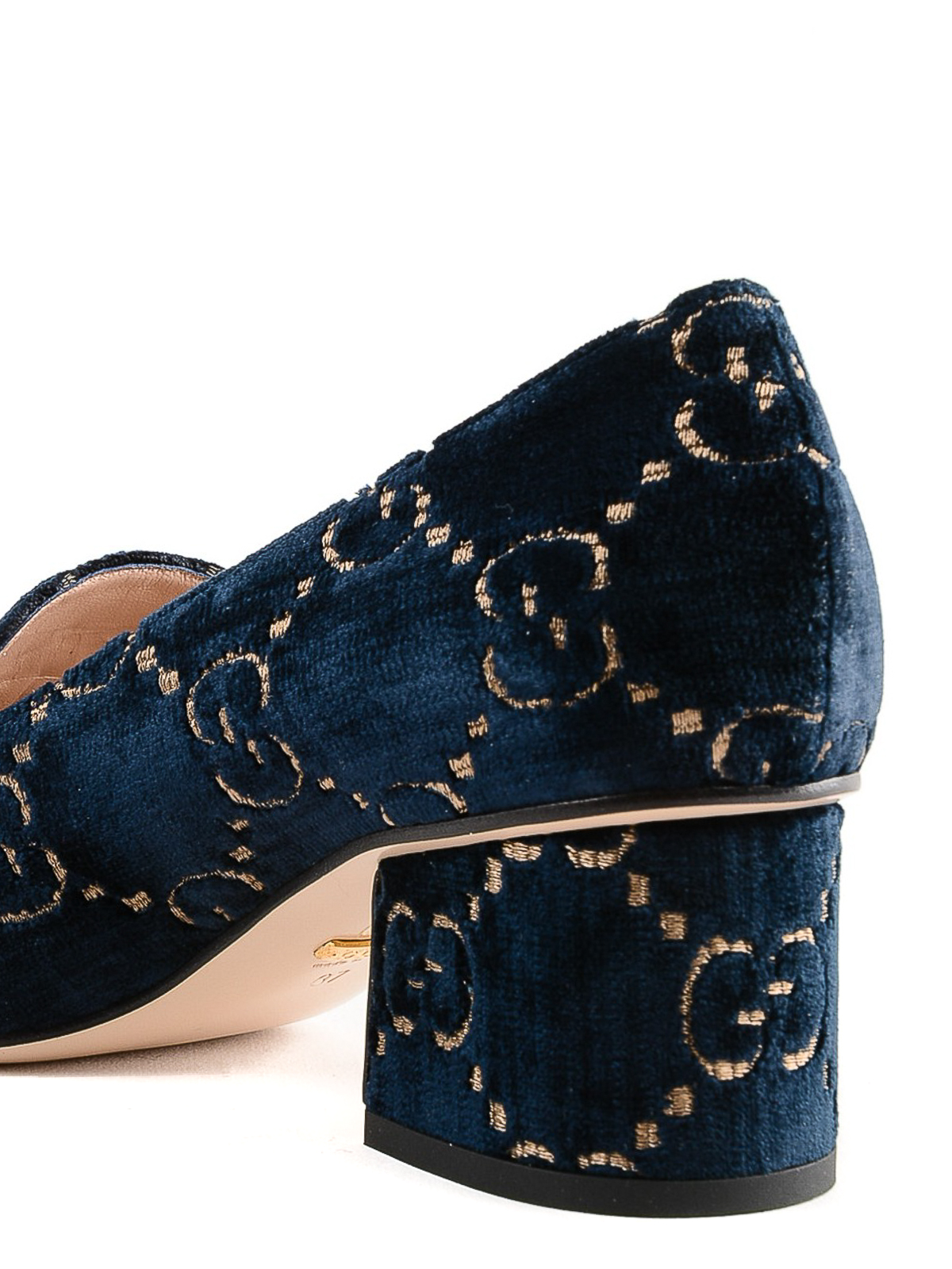 98c5dbe5b0d209 Gucci - GG dark blue velvet heeled loafers - court shoes ...