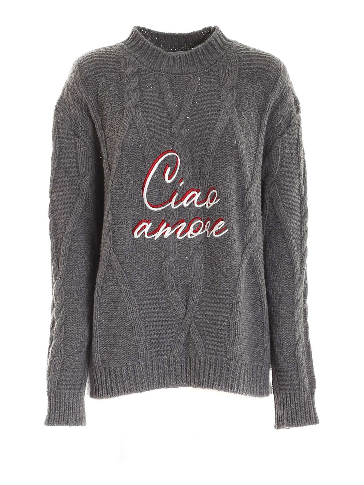 Giada Benincasa EMBROIDERY CREWNECK SWEATER IN GREY