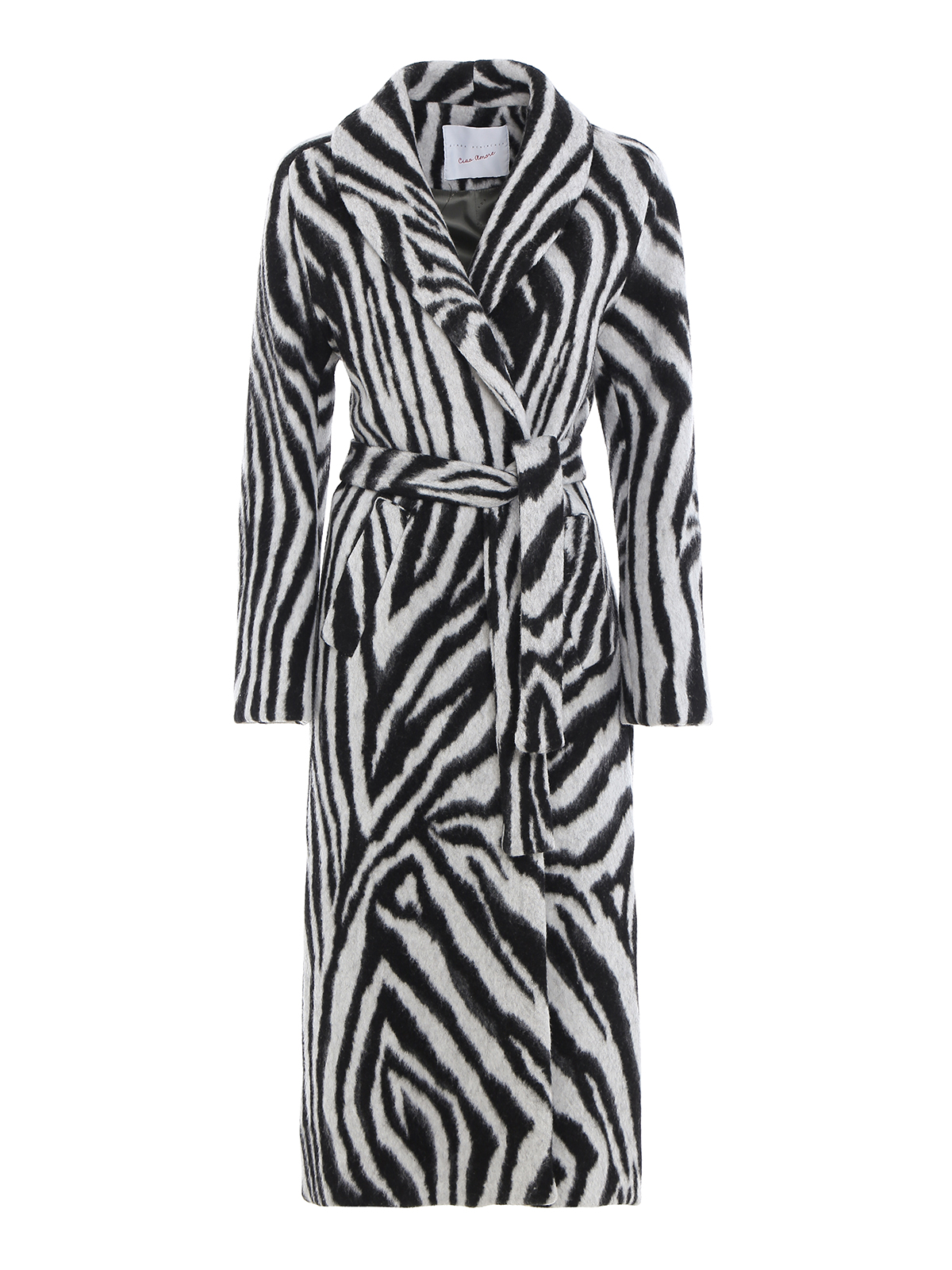 Giada Benincasa LONG ZEBRA COAT WITH BELT FASTENING