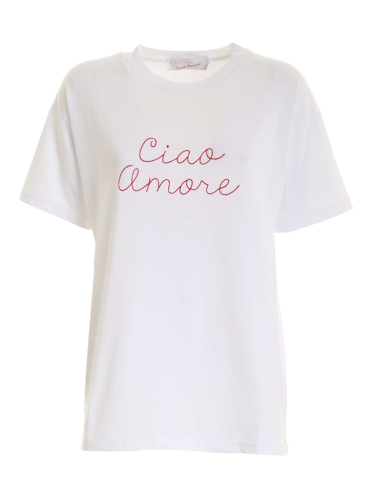 Giada Benincasa CONTRASTING EMBROIDERY T-SHIRT IN WHITE