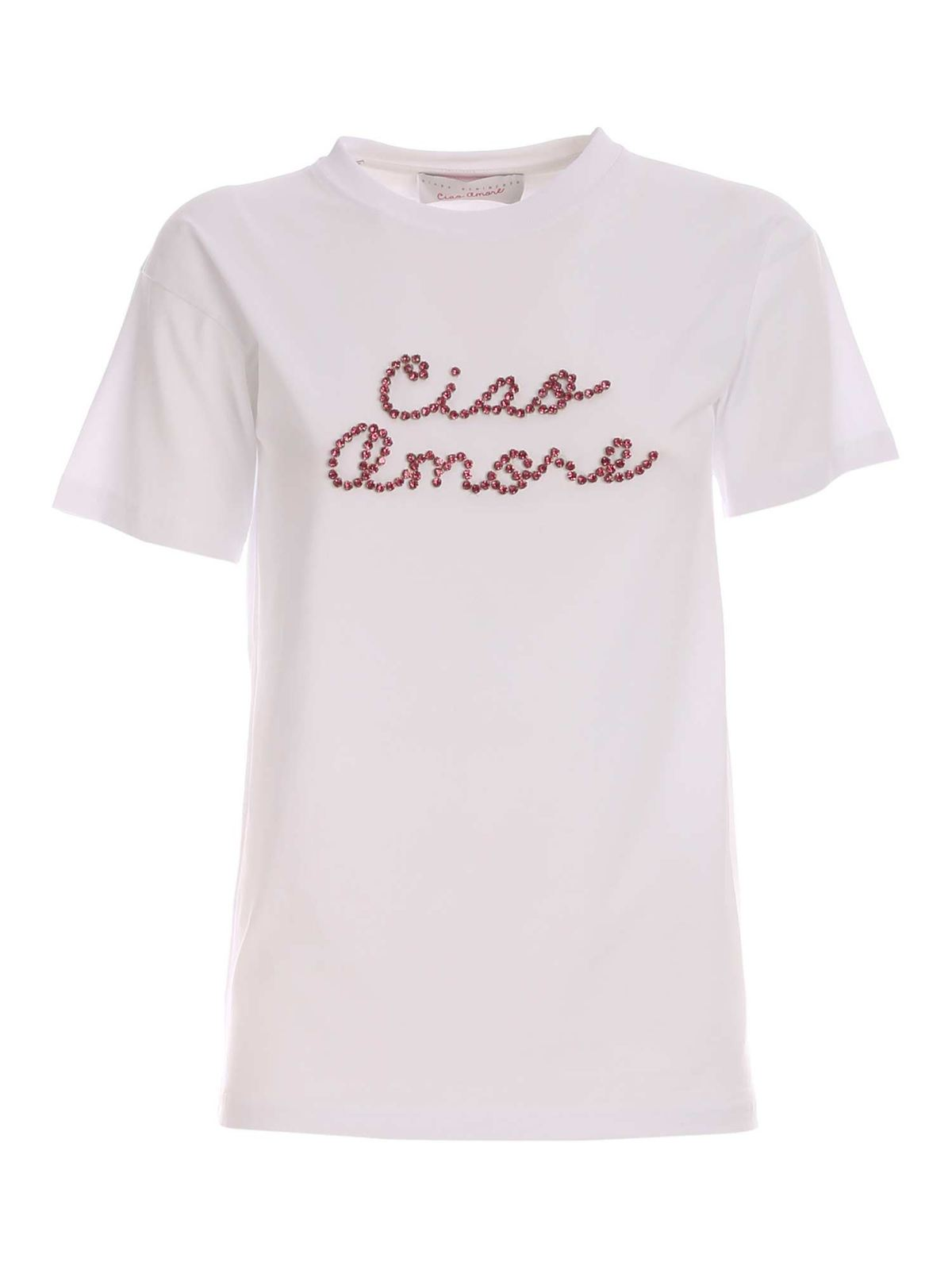 Giada Benincasa LIGHT ROSE T-SHIRT IN WHITE