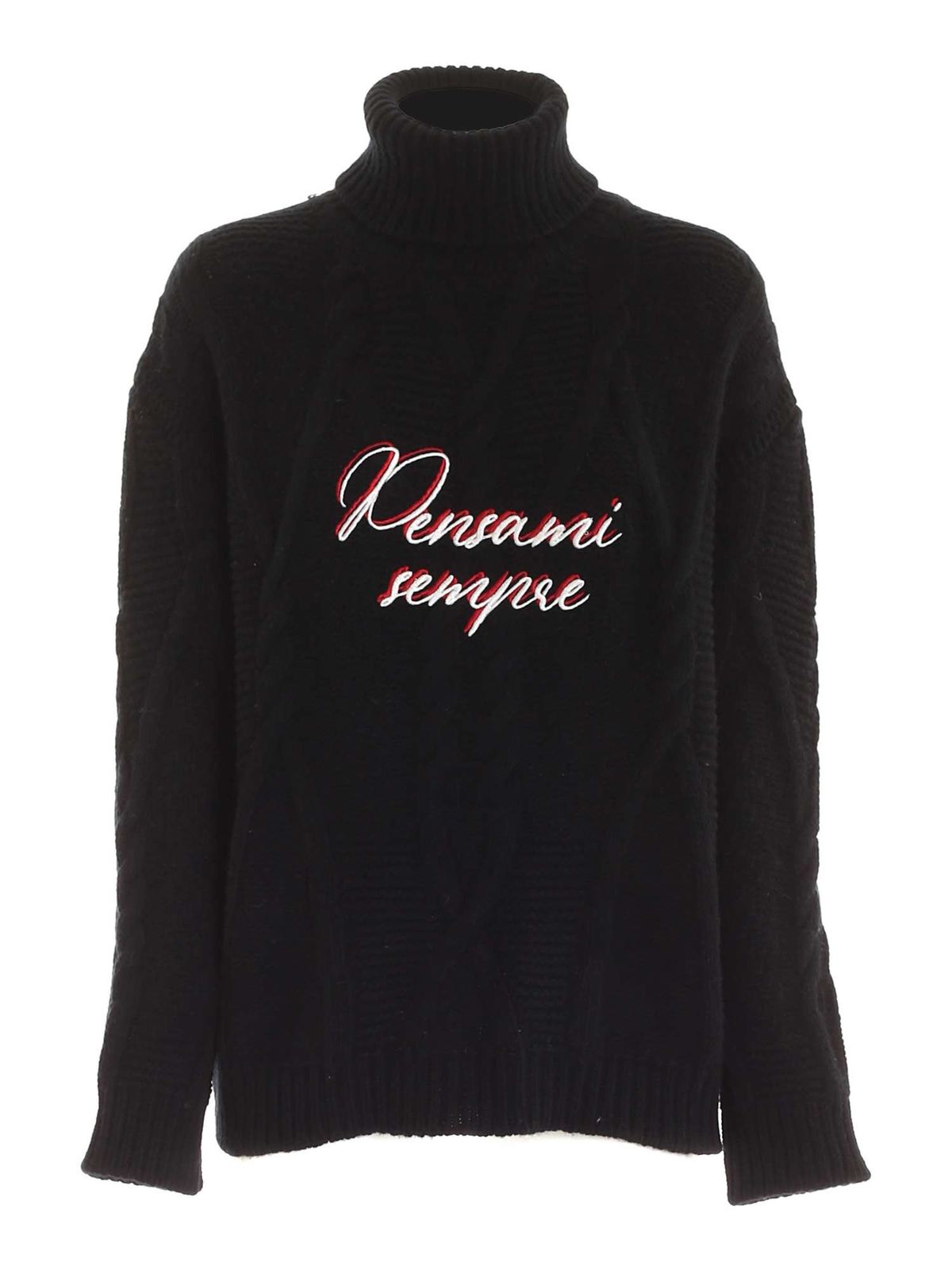 Giada Benincasa CONTRASTING EMBROIDERY TURTLENECK IN BLACK