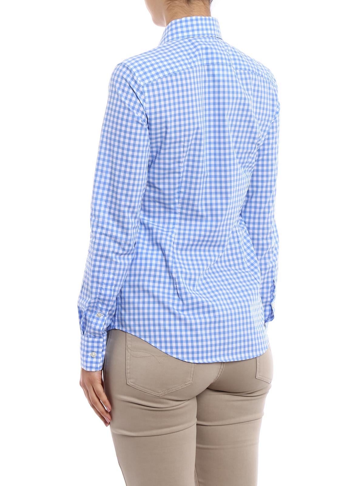 Lauren Gingham Cotton Slim Ralph Shirt Poplin Polo Shirts QrdCthsxB