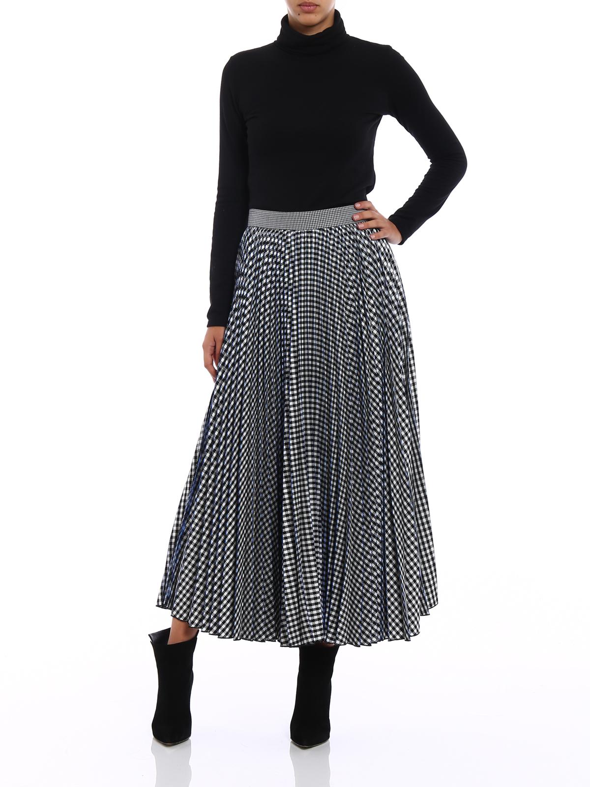 M S G M Gingham Print Pleated Midi Skirt Knee Length