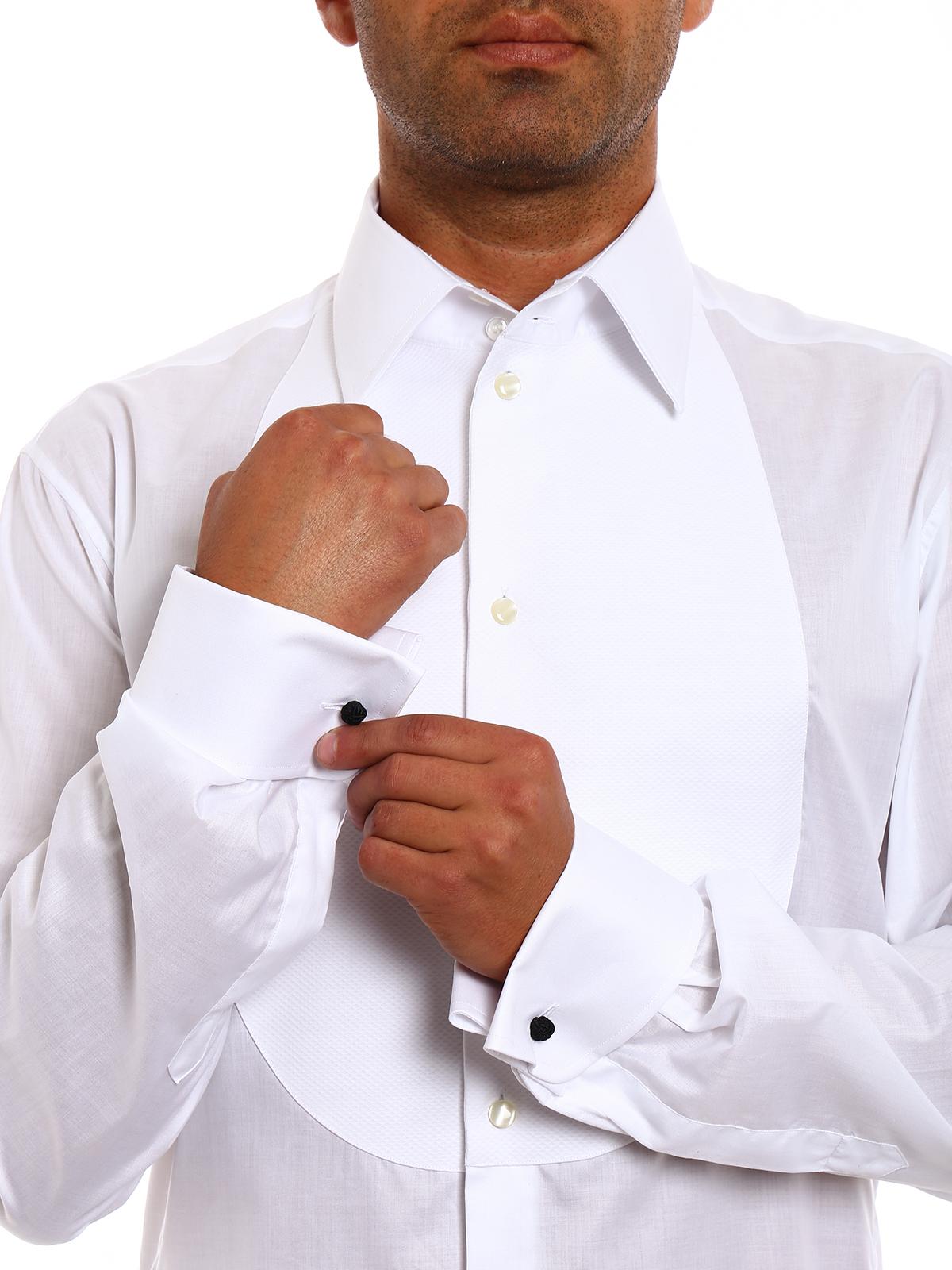 a2d022a0fb2 Giorgio Armani - Cotton tuxedo shirt - shirts - ZSCSBTZS00C100 ...
