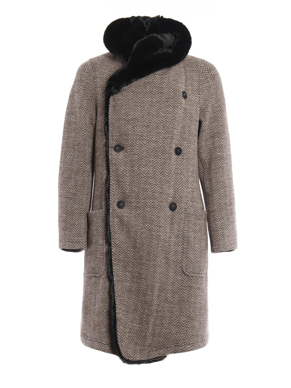 Fur lined hood wool coat