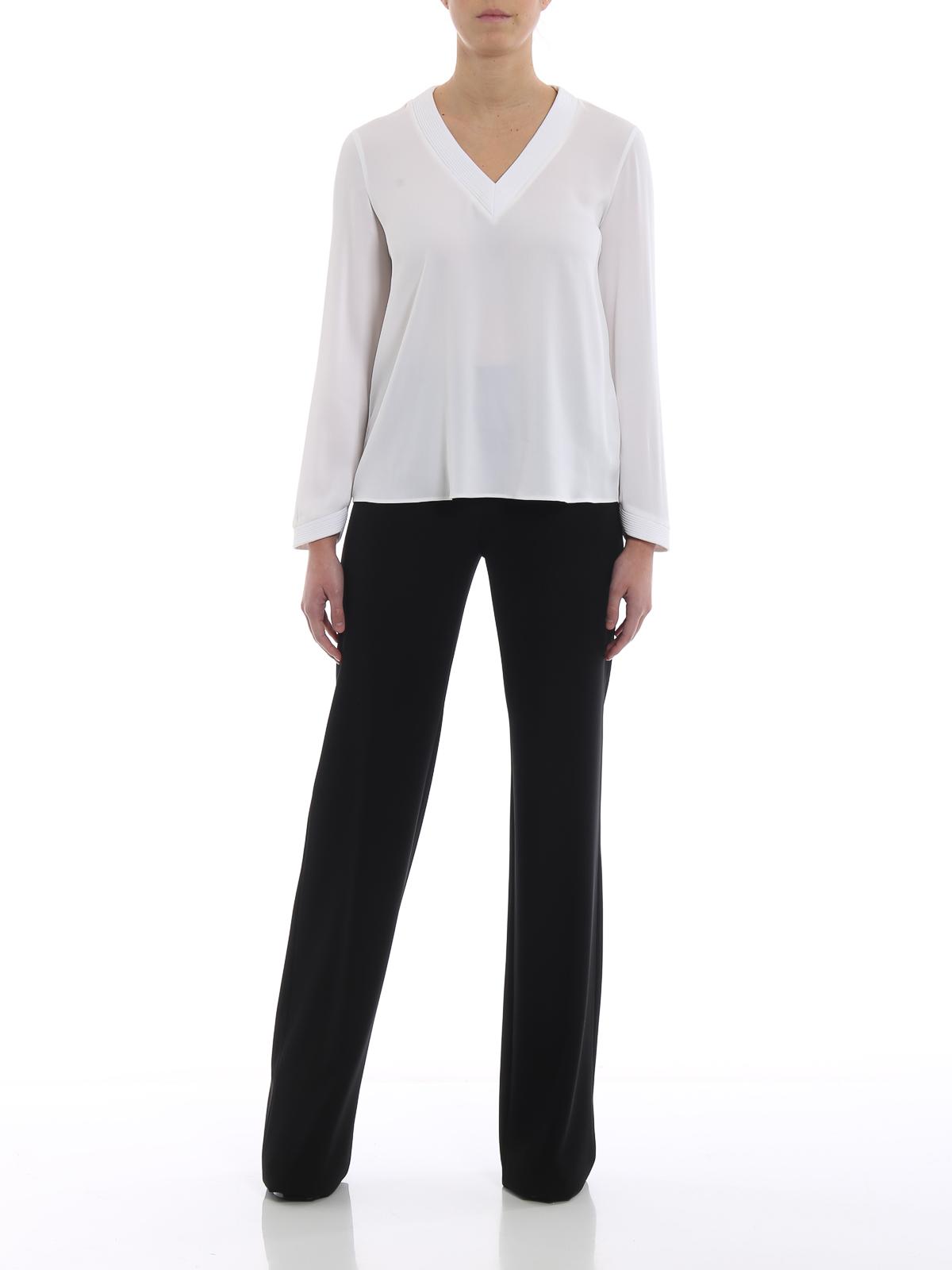 d8e7e8107197a Giorgio Armani - White silk V-neck blouse - بلوز - 9SHCC00C T008B U0BN