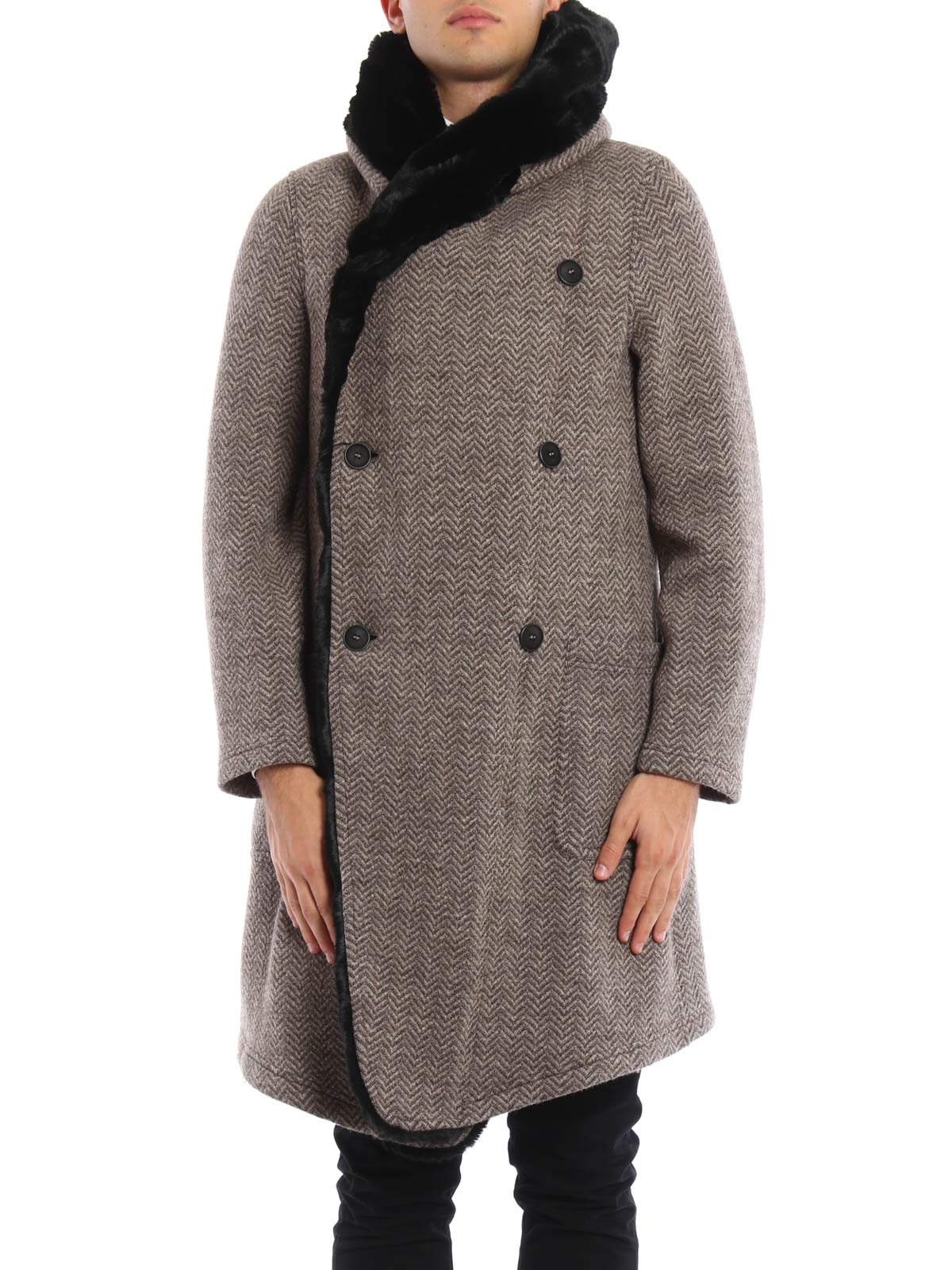 d0a0069333cb GIORGIO ARMANI  knee length coats online - Faux fur lined wool coat