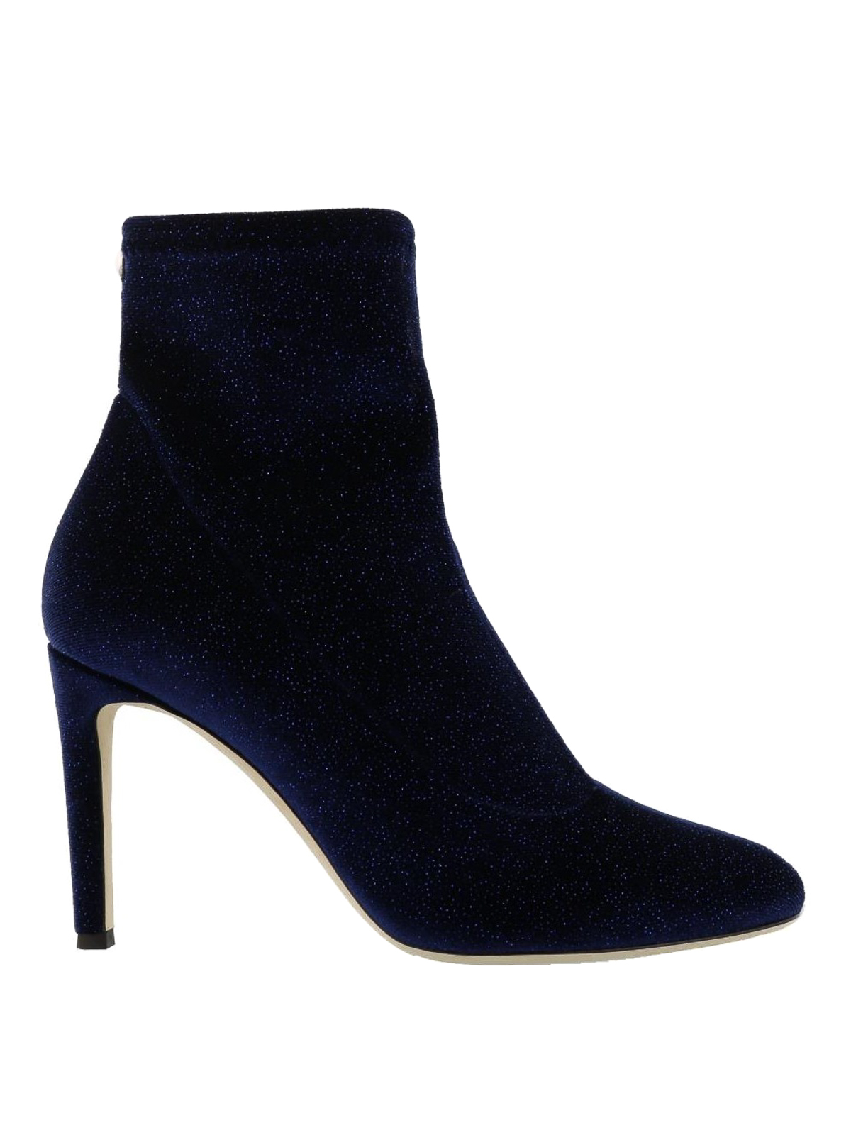 Celeste blue glitter velvet ankle boots