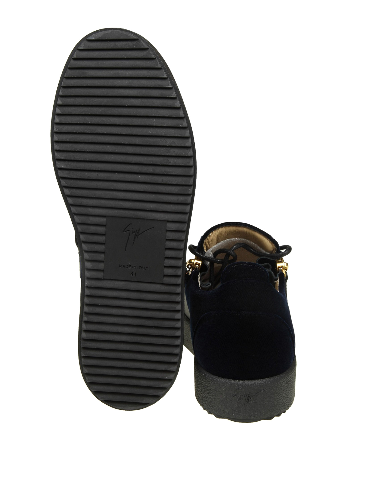 1443419a64a24 GIUSEPPE ZANOTTI buy online Double black leather and blue velvet sneakers