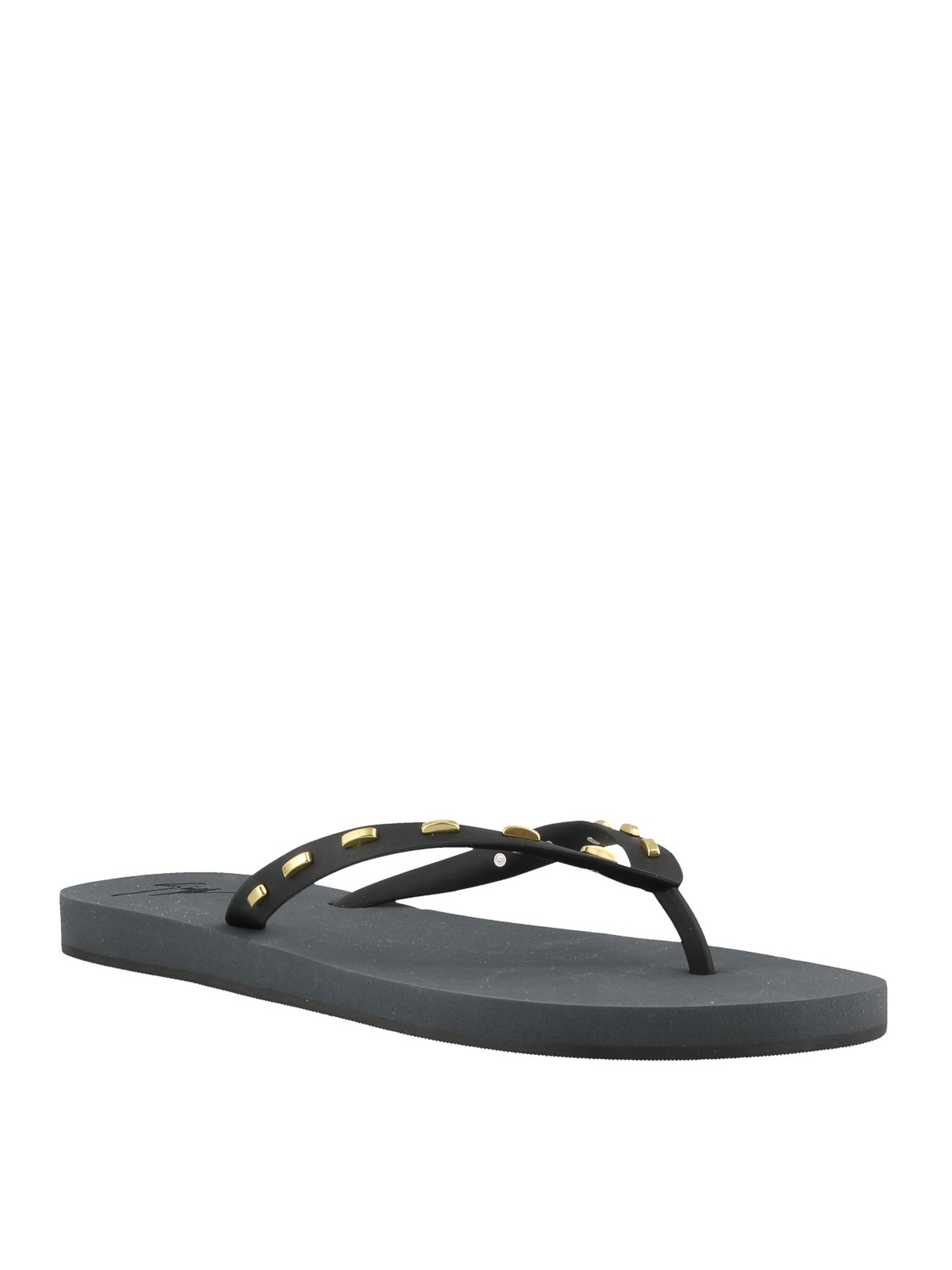 b19f9c35c108 GIUSEPPE ZANOTTI  flip flops online - Black and gold rubber thong sandals