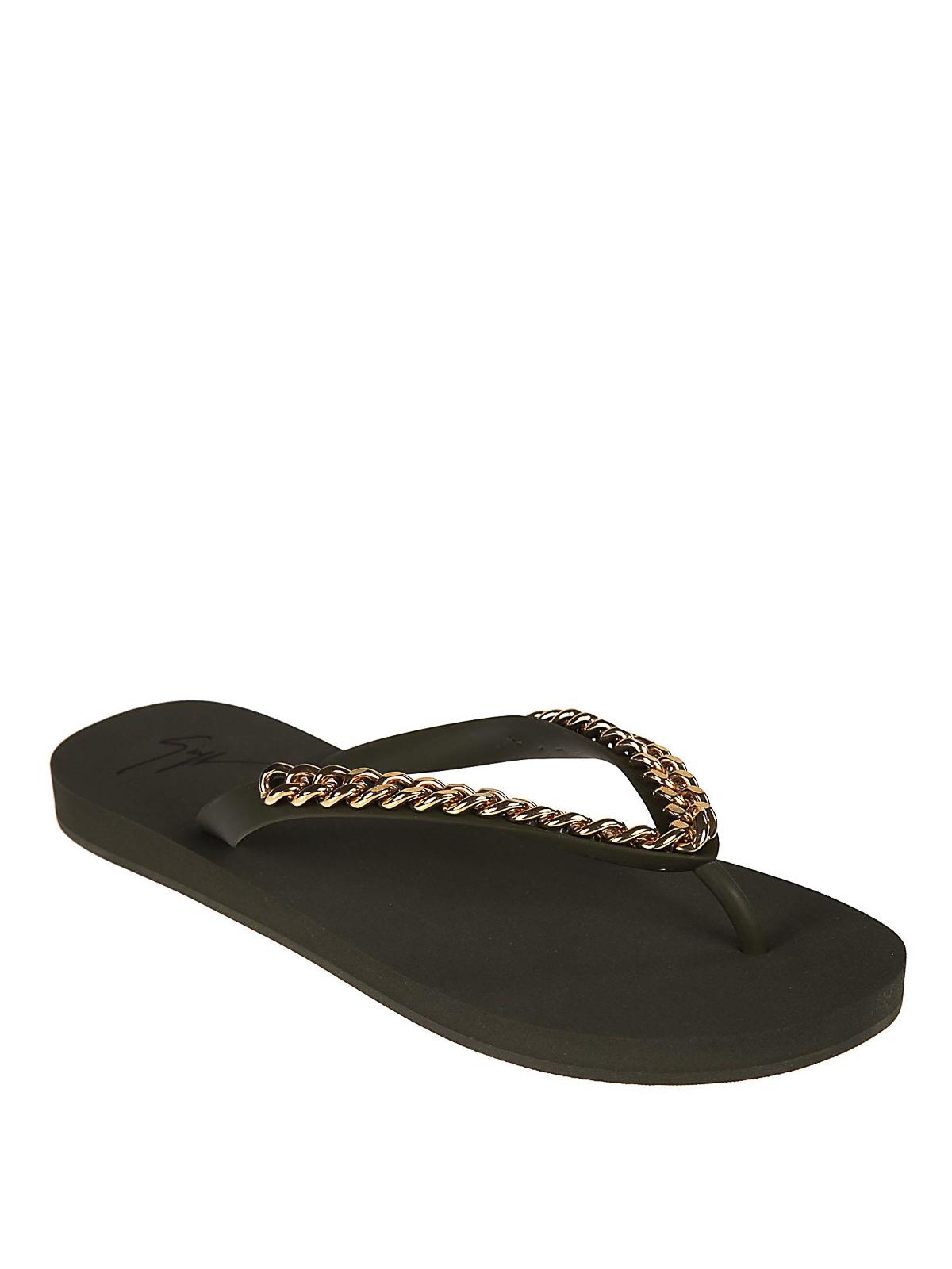 c553f574f909 GIUSEPPE ZANOTTI  flip flops online - Chain detailed rubber flip flops
