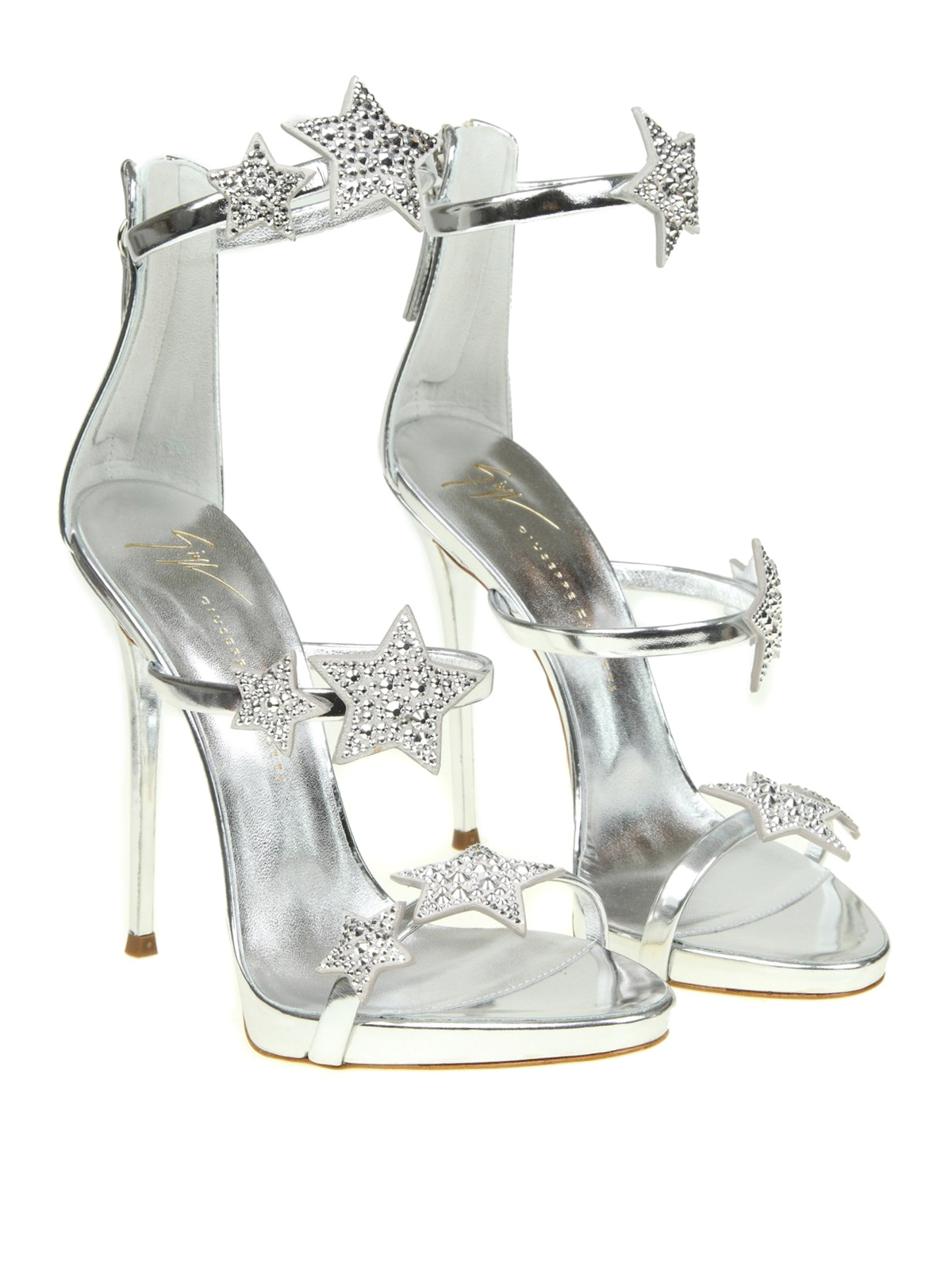 Harmony Star silver patent sandals
