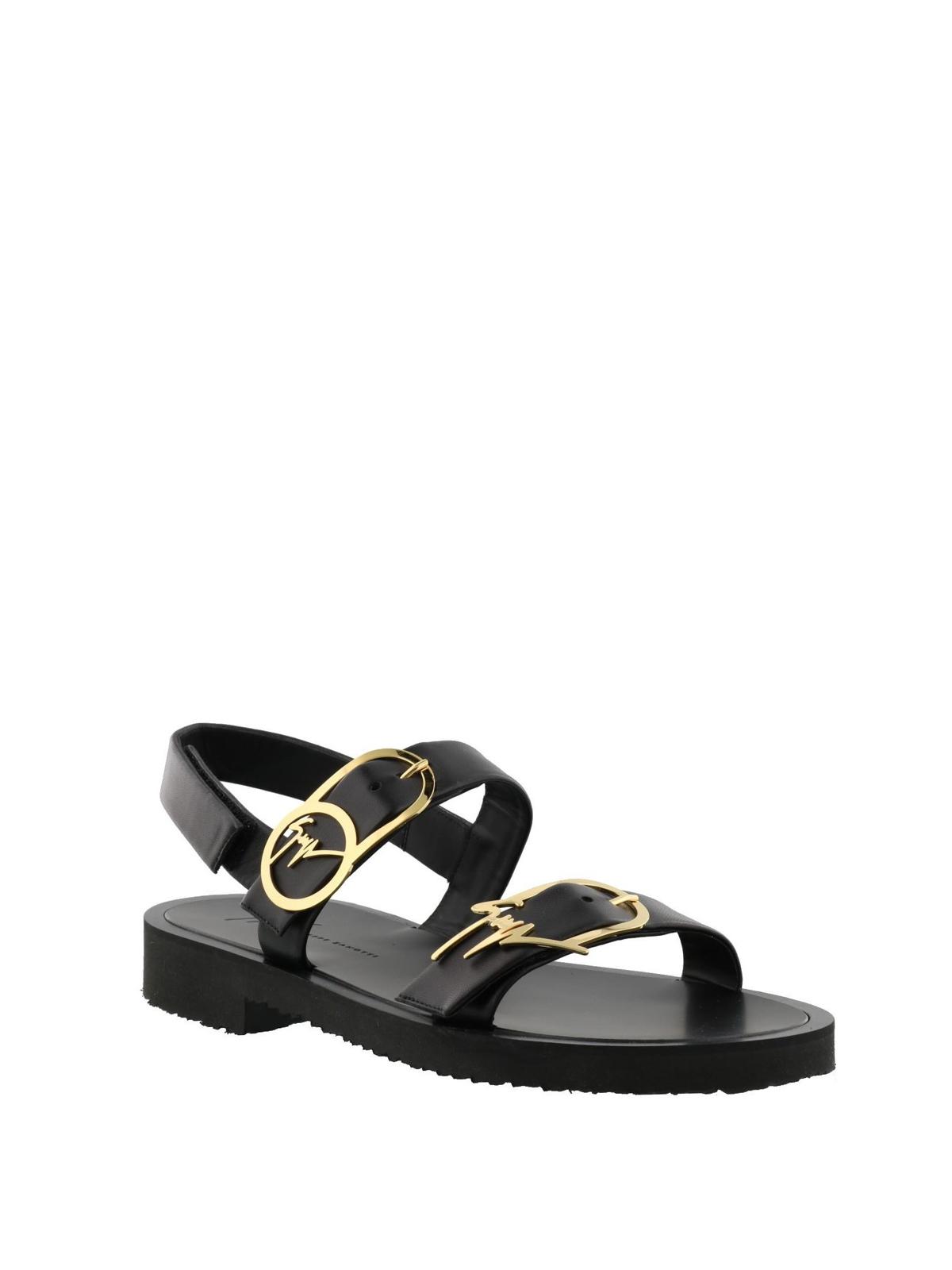 efdfd5f54412 GIUSEPPE ZANOTTI  sandals online - Logo buckle black leather sandals