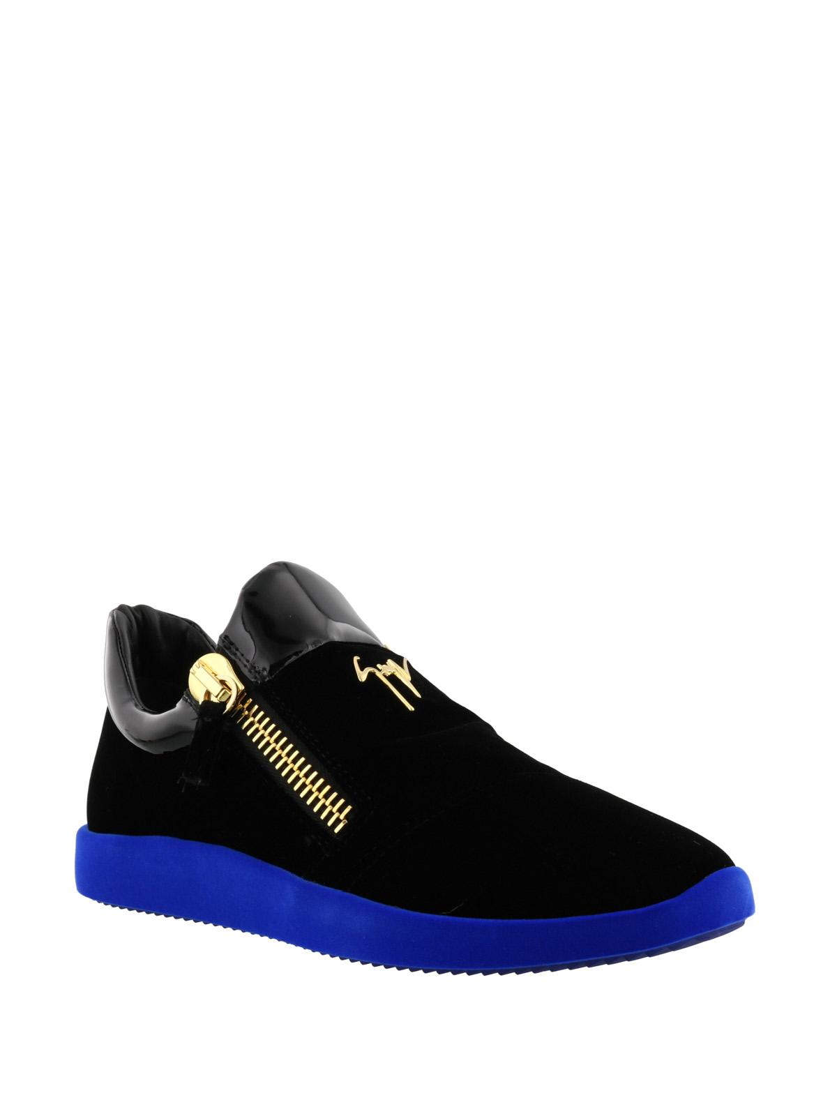 Blue sole black velvet sneakers